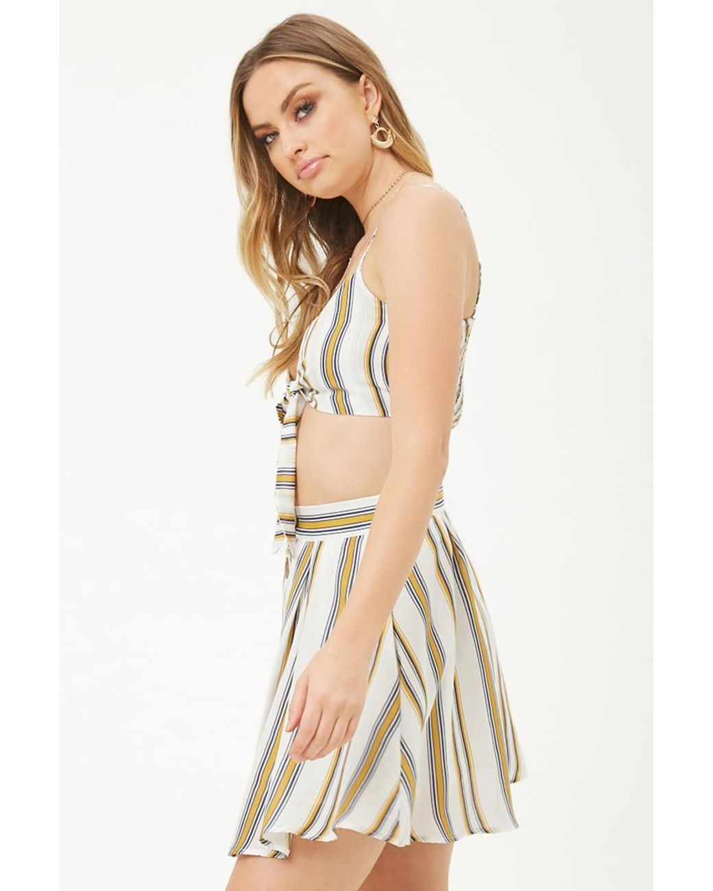 f7d5b52e665 Forever 21 Striped Tie-front Crop Top & Skirt Set - Save 3% - Lyst