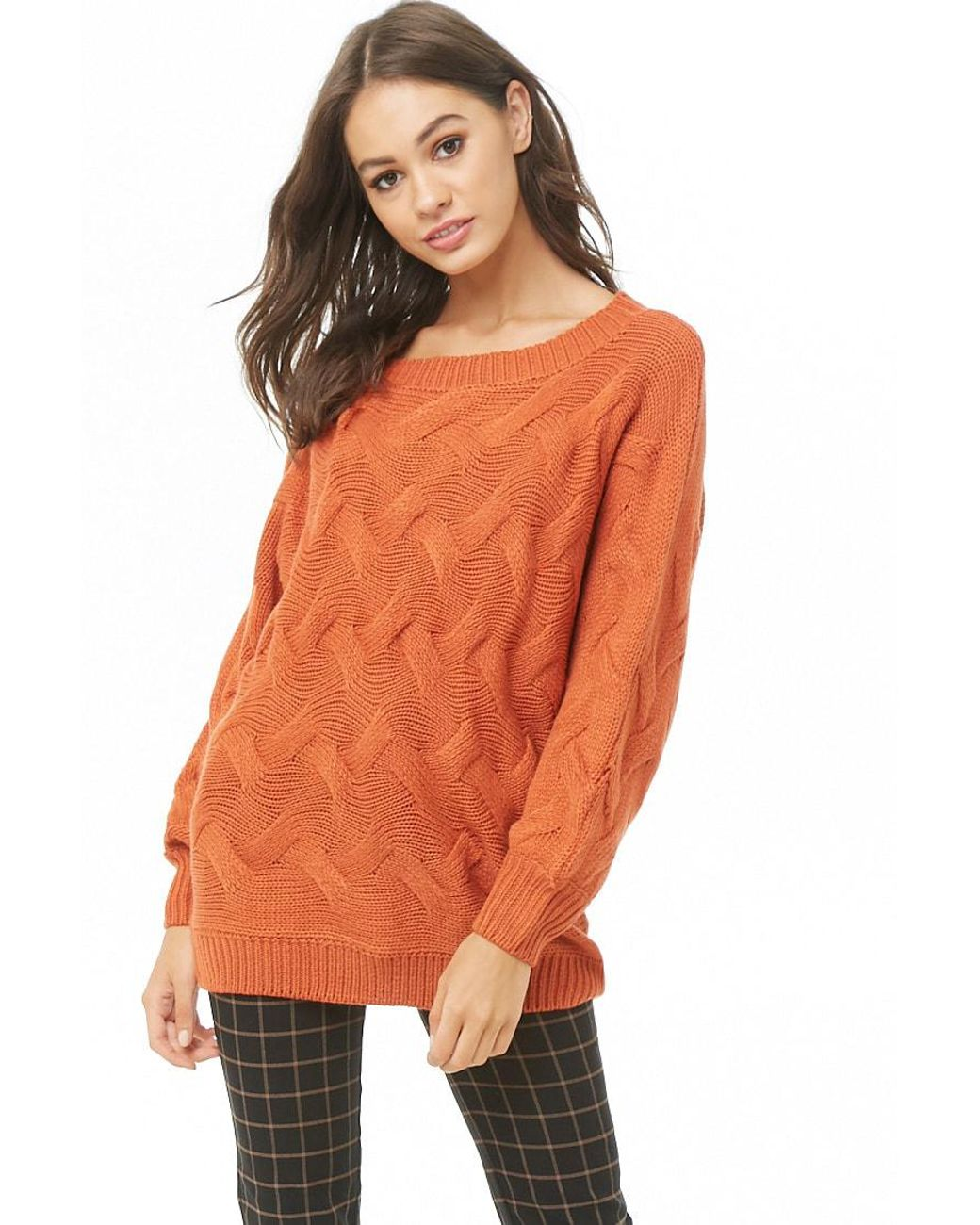 720dab17bf64c0 Long-Touch to Zoom. Long-Touch to Zoom. 1; 2. Forever 21 - Orange Cable  Knit Sweater ...