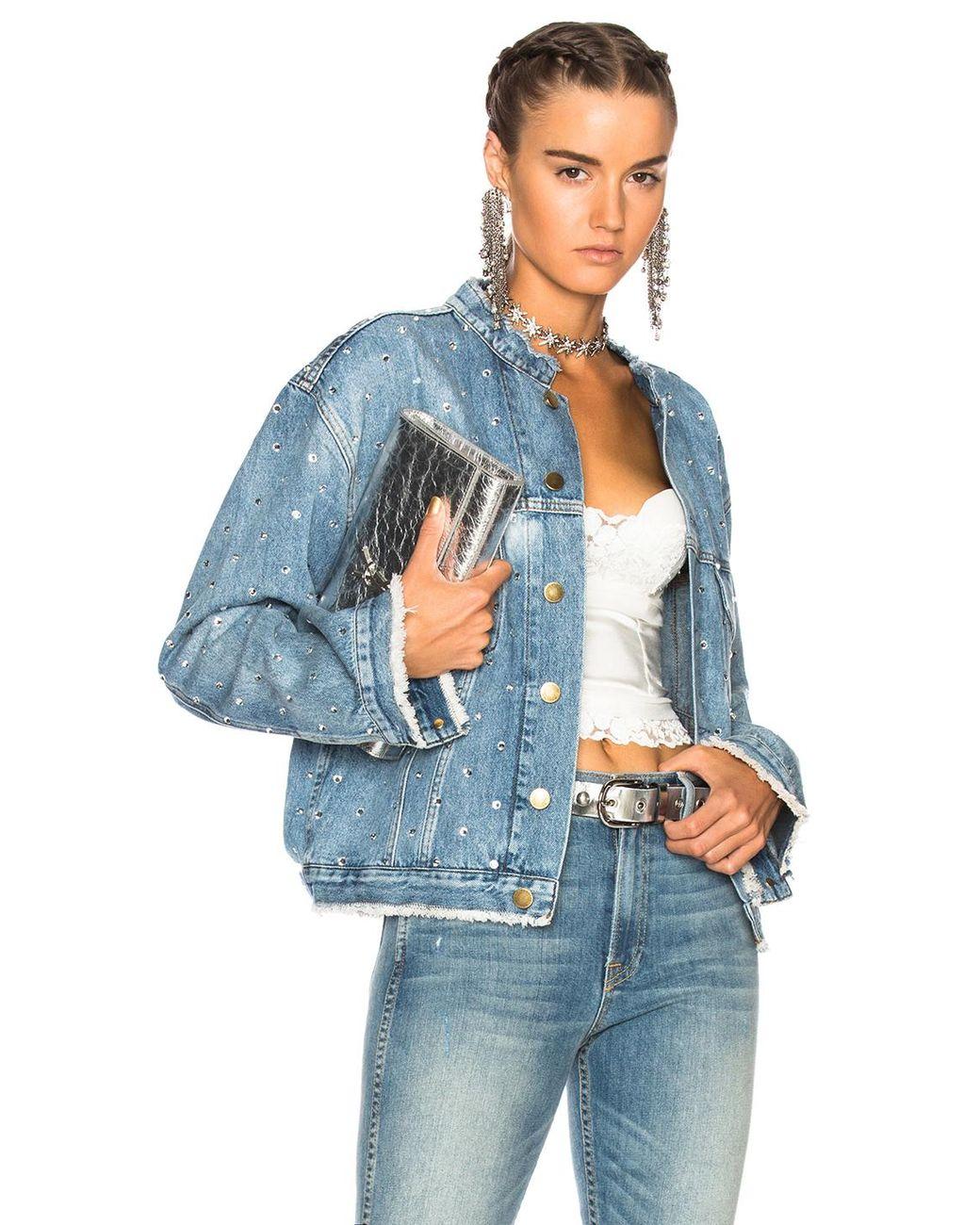 651496a9b Women's Blue Crystal Studded Denim Jacket