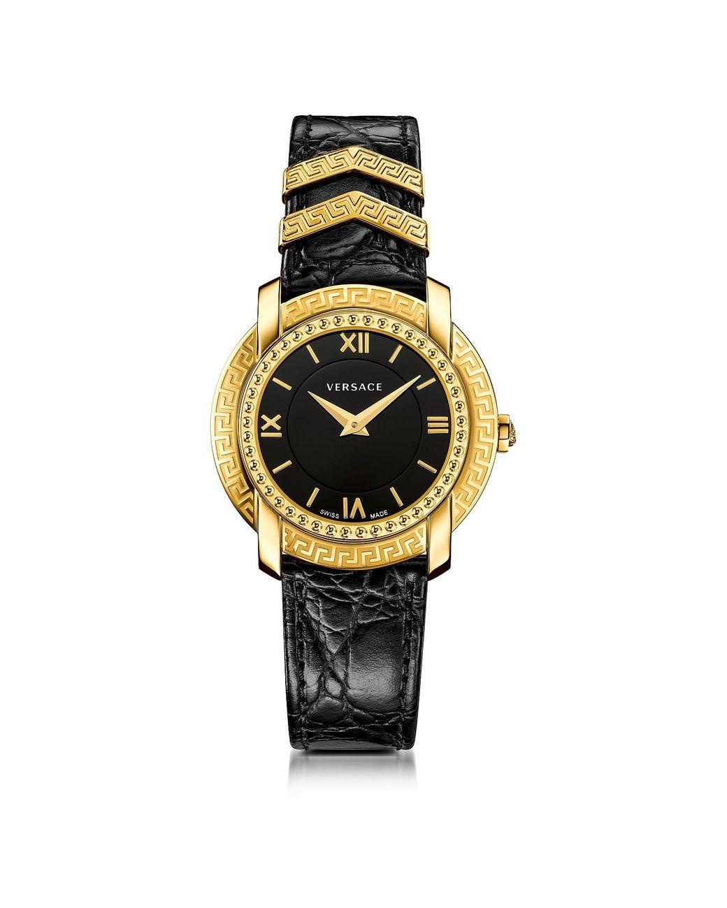 Damenuhr In Schwarz Krokogeprägtem Dv25 Gold Armband Und Mit zpGUqMSV