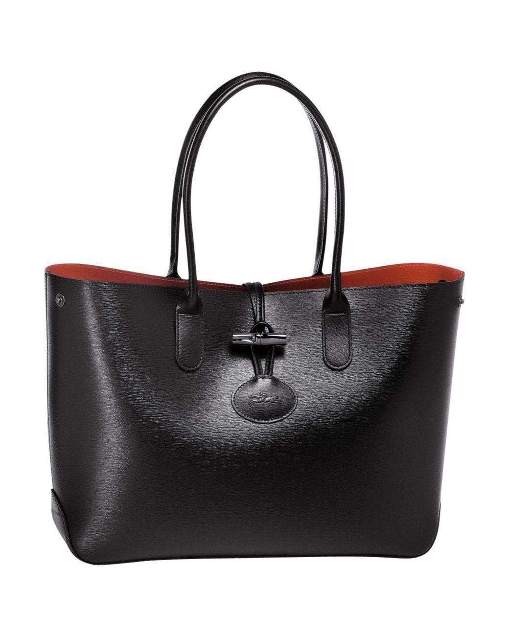 Sac shopping Roseau femme de coloris noir