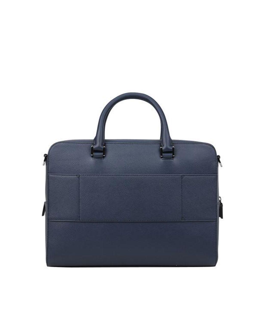 cbedea6217 Sac porte-documents zippé en cuir saffiano homme de coloris bleu