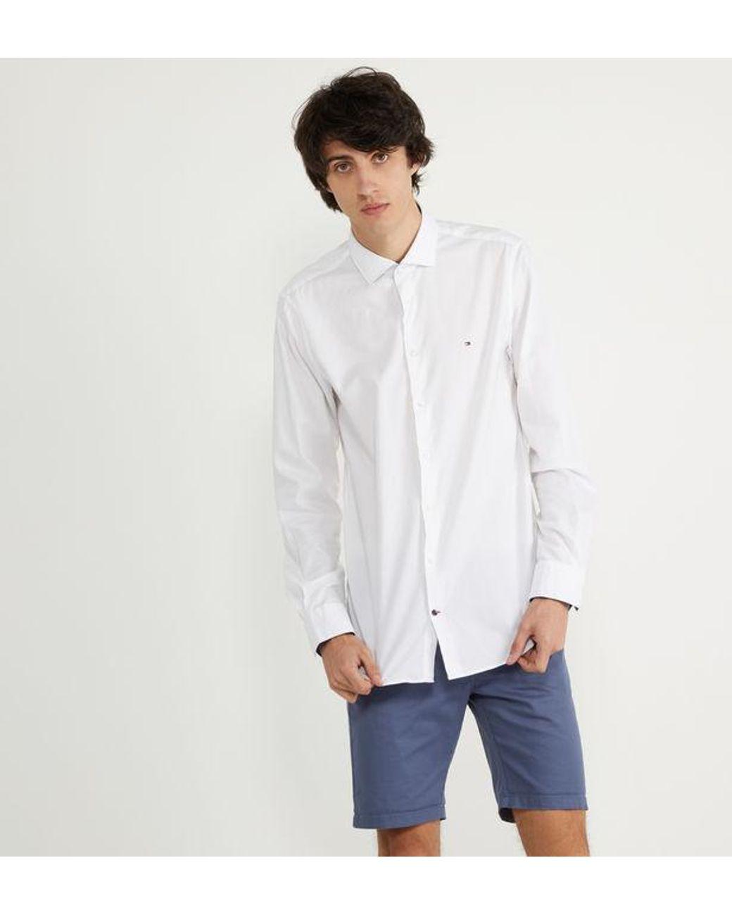 Chemise slim en coton uni homme de coloris blanc