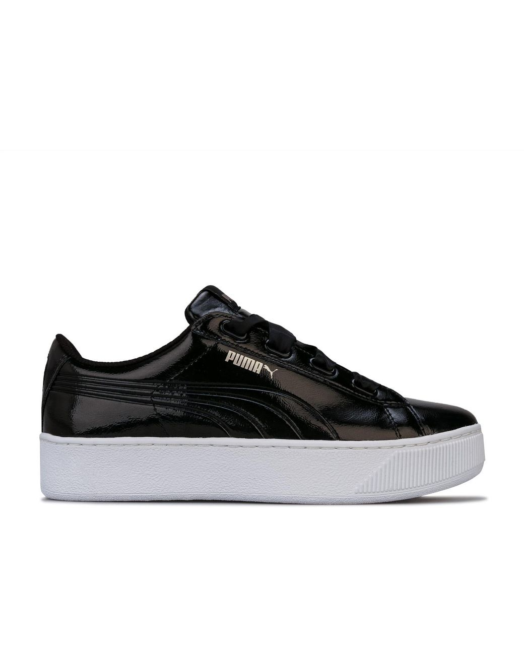 PUMA Synthetic Vikky Platform Ribbon Trainers in Black Lyst
