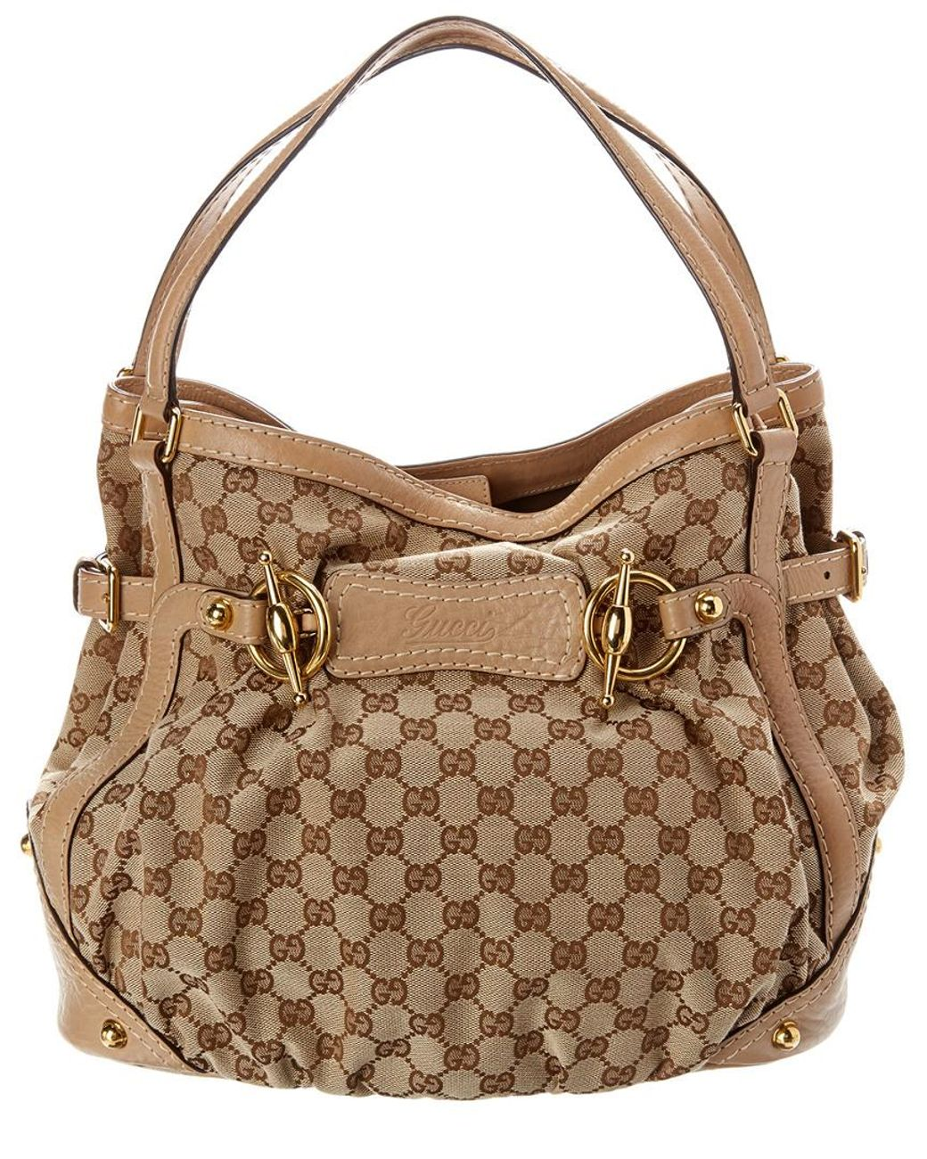 155a58b98d5 Lyst - Gucci Brown GG Canvas   Beige Leather Jockey Hobo Bag in Brown -  Save 3%