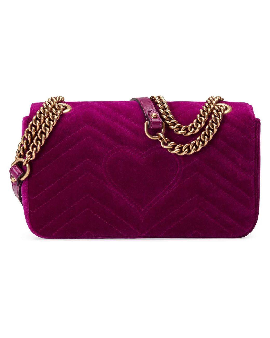 962d58f1daab Gucci GG Marmont Velvet Shoulder Bag in Purple - Save 30% - Lyst