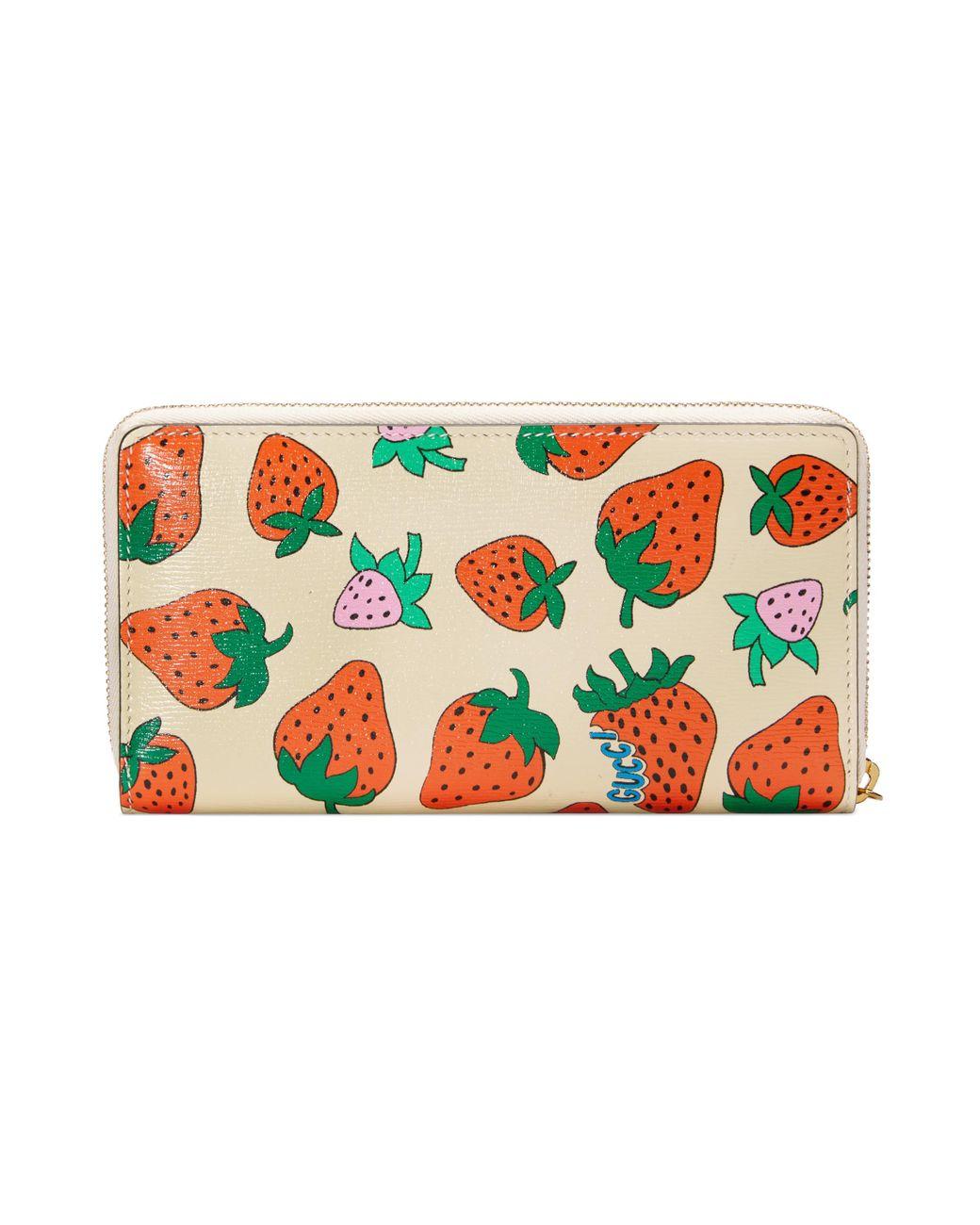 Zumi Strawberry Print Zip Around Wallet