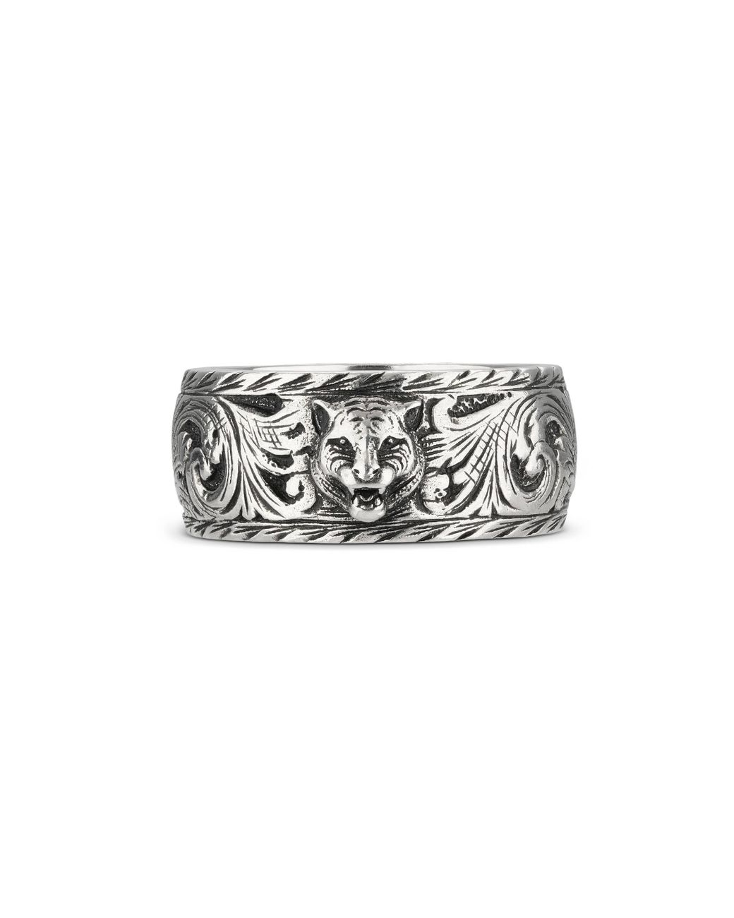 56c3f4f879 Men's Metallic Thin Silver Ring With Feline Head