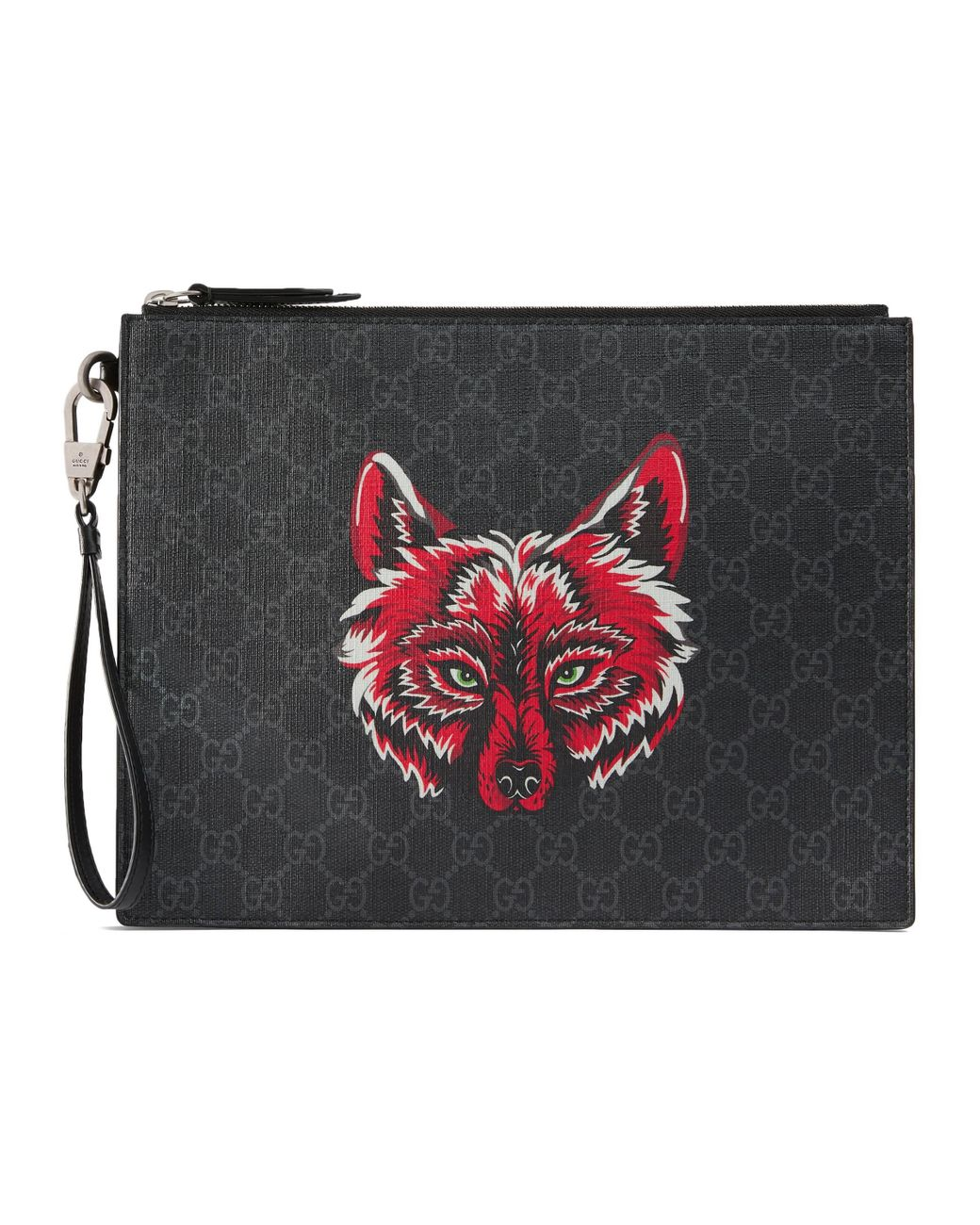 b61dd8d56e Men's Black Bestiary Pouch With Wolf