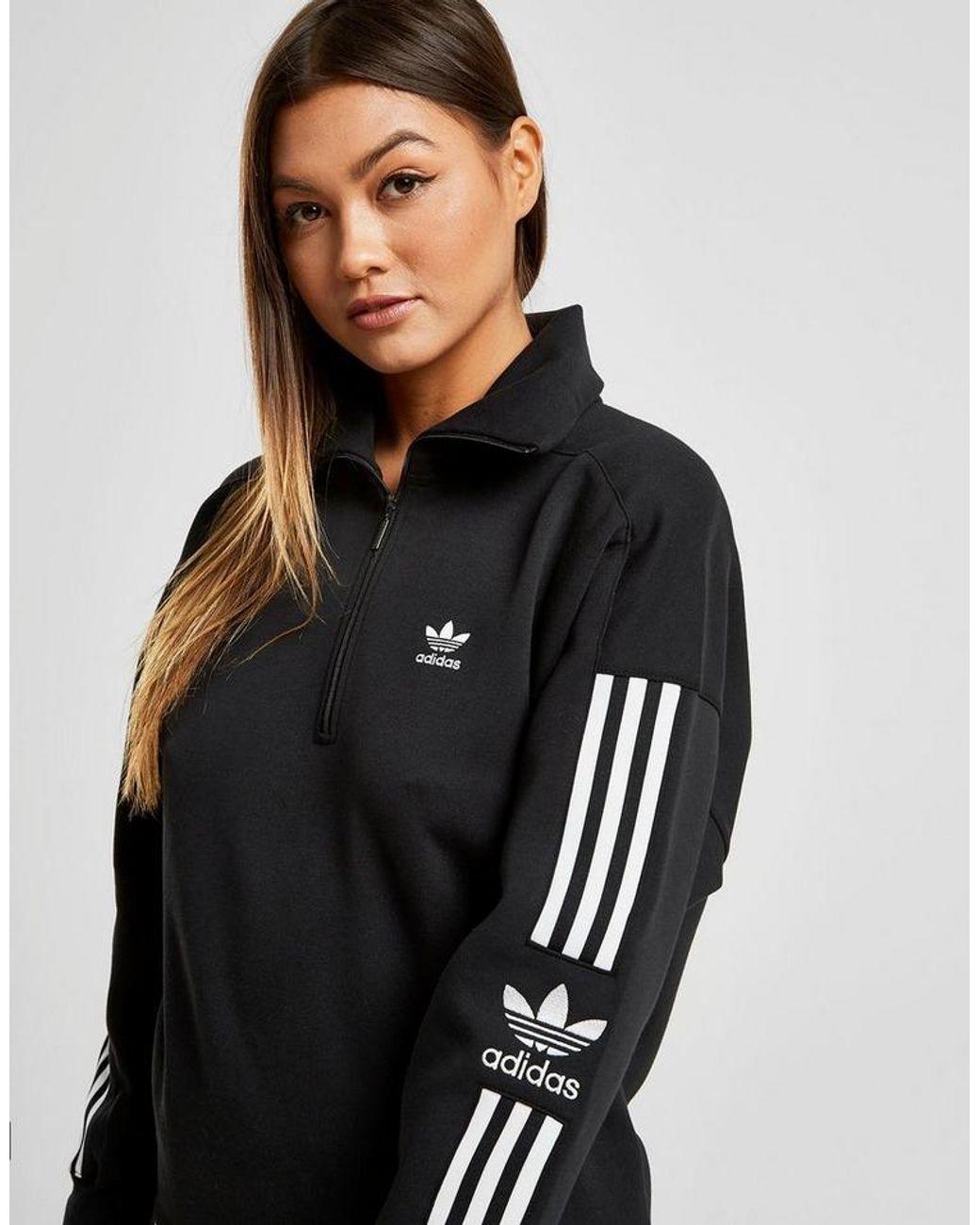adidas Originals Cotton 3 stripes Lock Up 14 Zip Sweatshirt