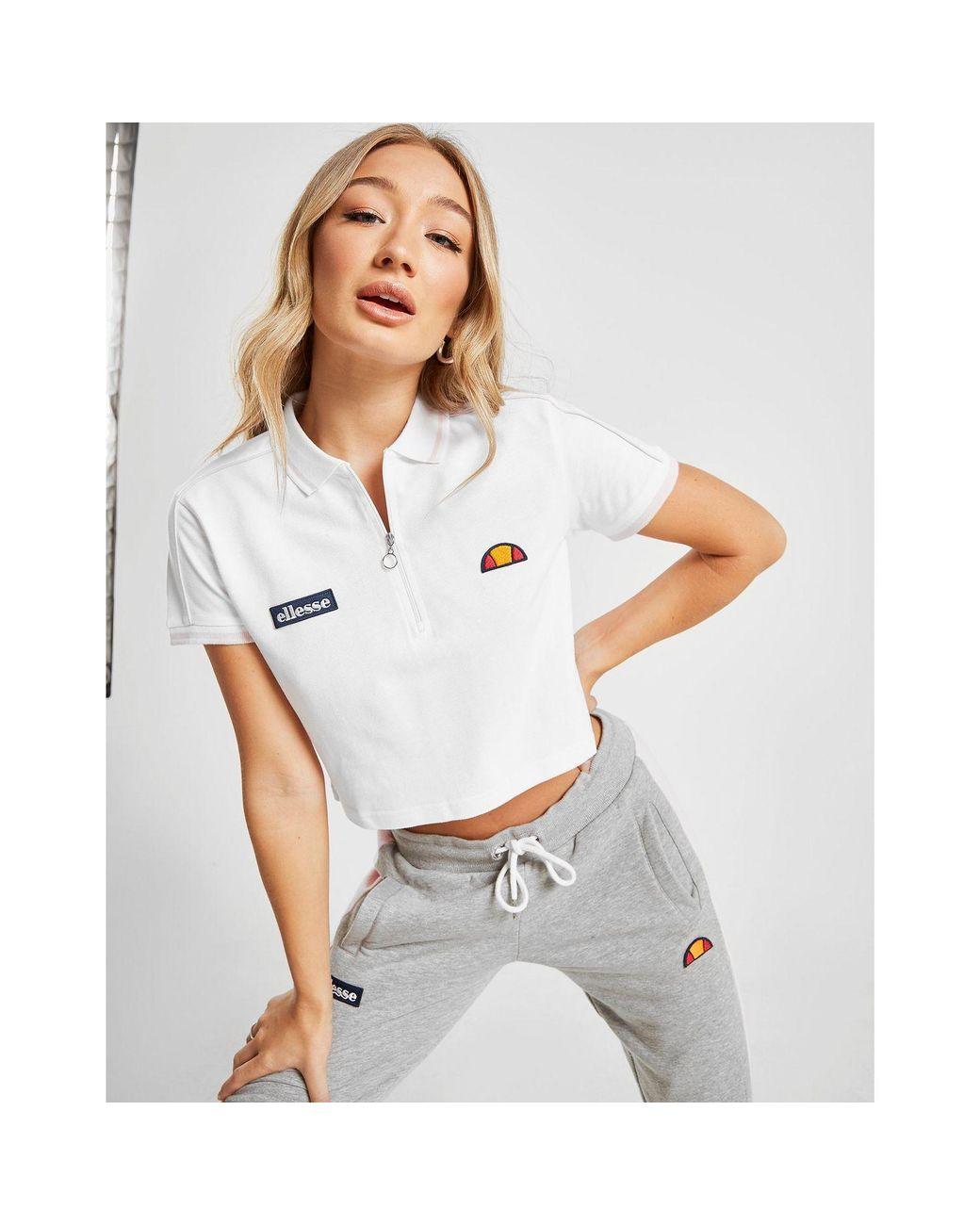 1da2b81f Women's White Piping Crop Polo Shirt