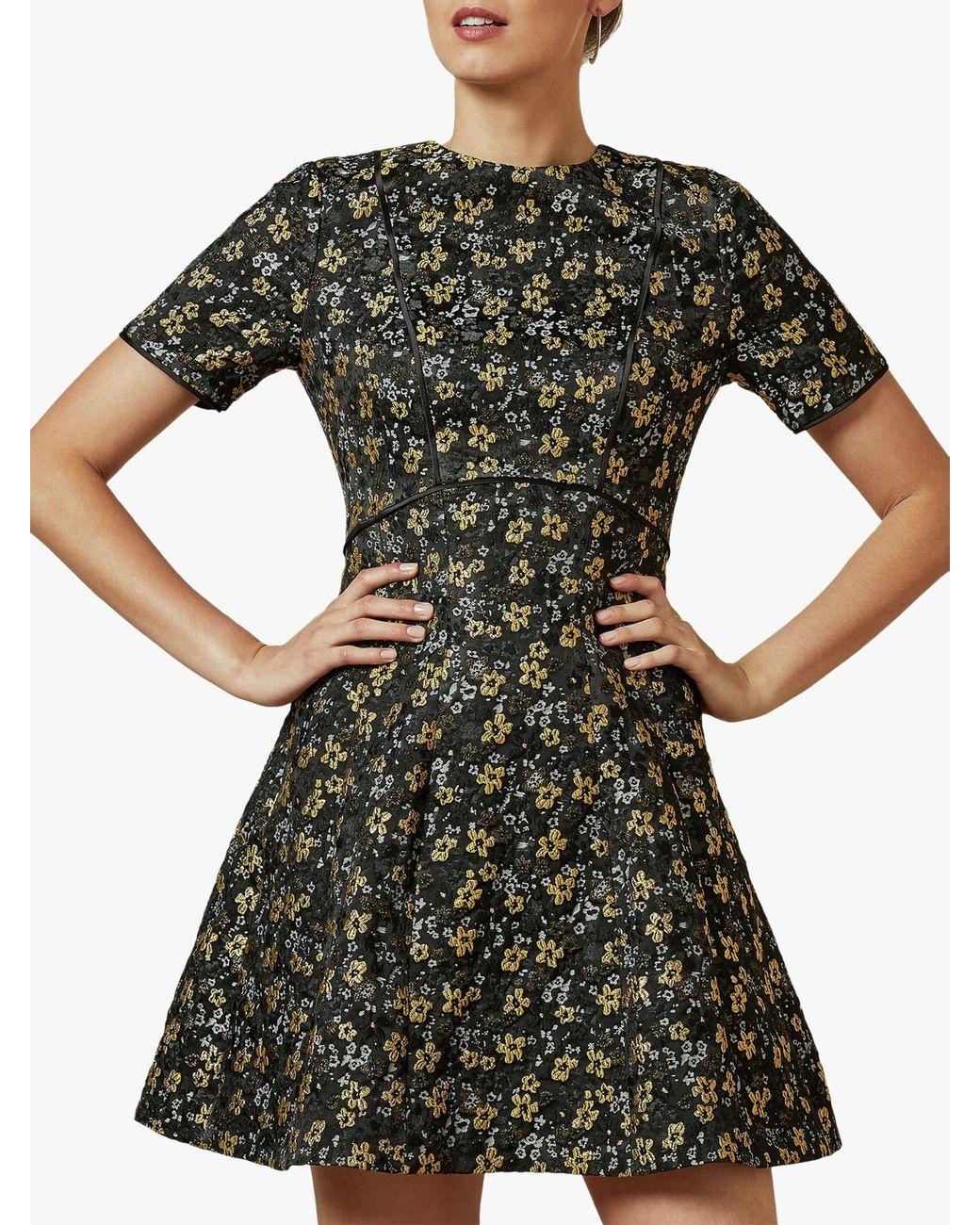 SALE NEW Ted Baker Moven Oriental Floral Print Skater Prom Dress £169 Black