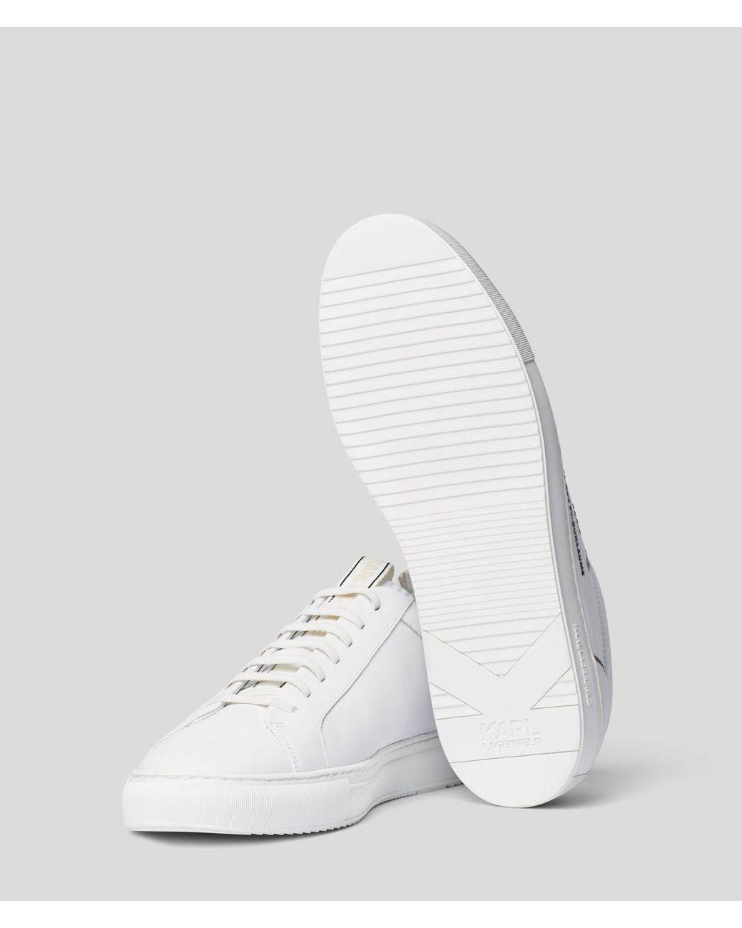 Karl Lagerfeld Leather Maison Karl Kupsole Sneaker in White
