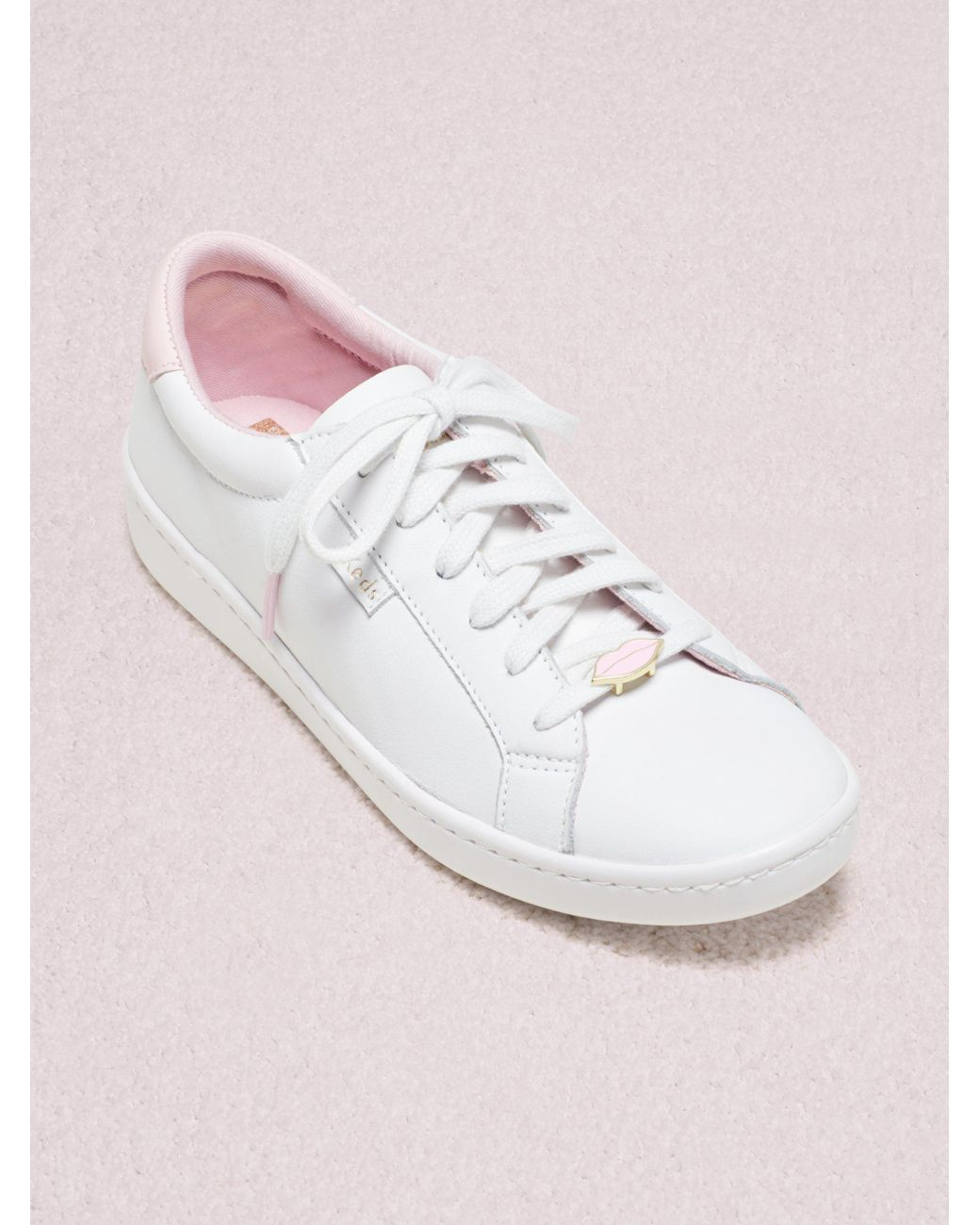 54215fdbd78a Lyst - Kate Spade Keds X New York Ace Lips Hearts Sneakers in White