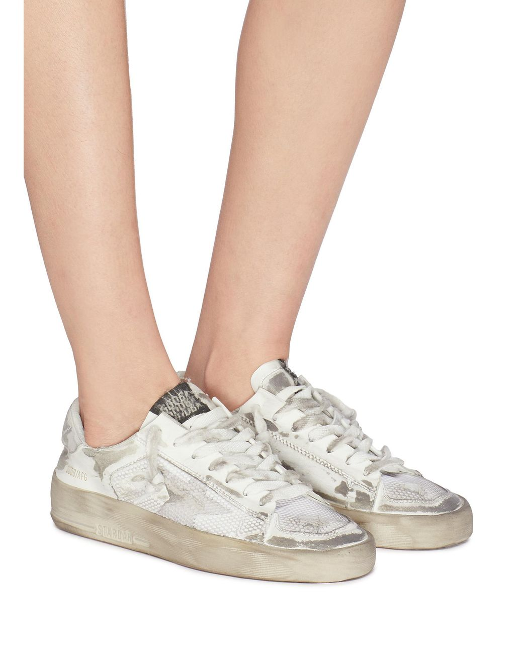 845a97f3a913 golden goose deluxe brand women s white  stardan  mesh panel distressed leather  trainers