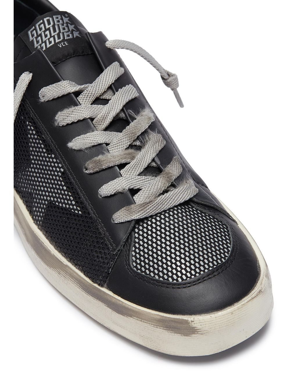 black 'stardan' mesh panel leather trainers