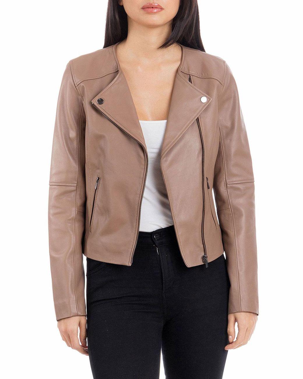 b09f5915e Women's Brown Collarless Smooth Leather Biker Jacket