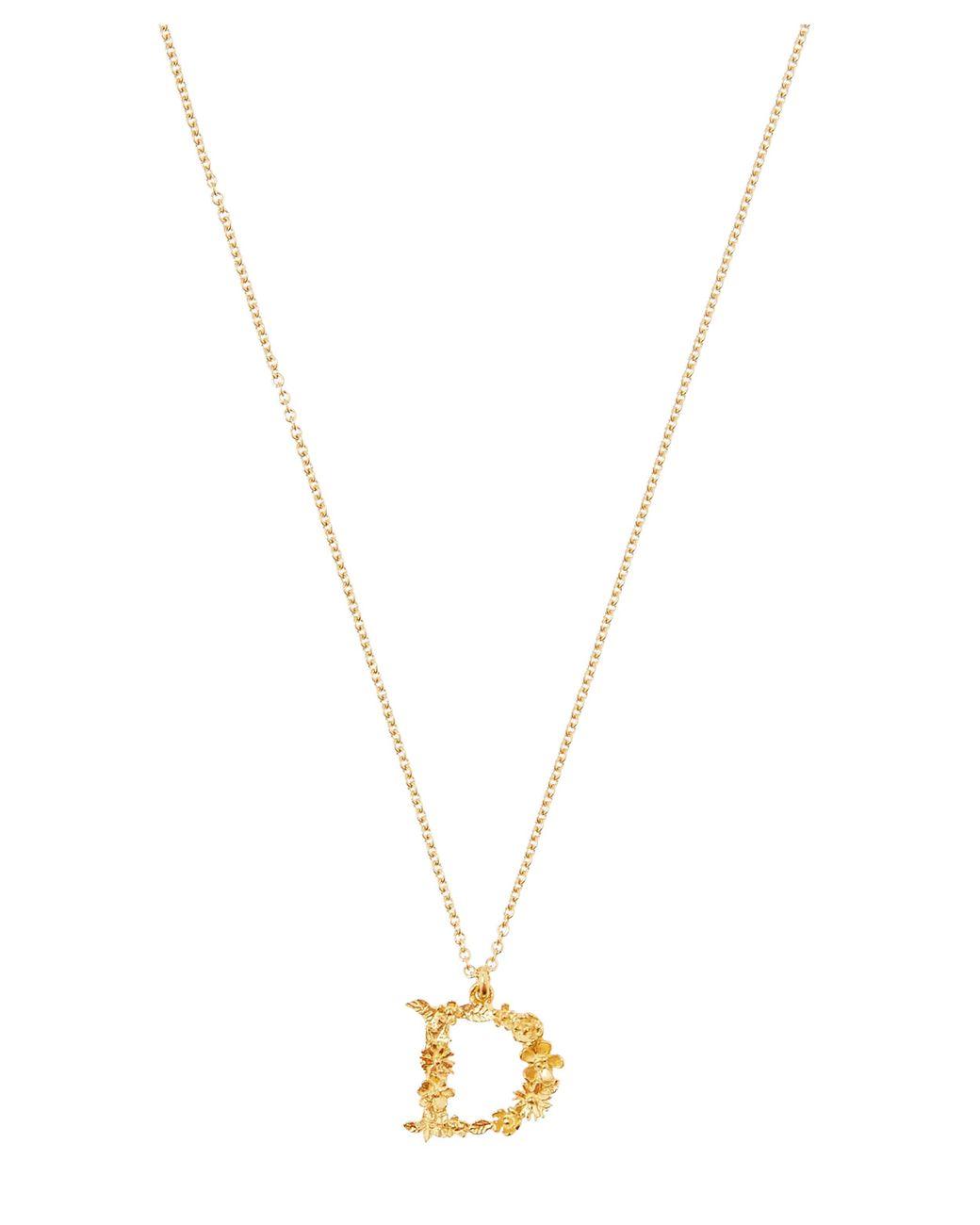 251018fff521c Women's Metallic Gold-plated Floral Letter D Alphabet Necklace