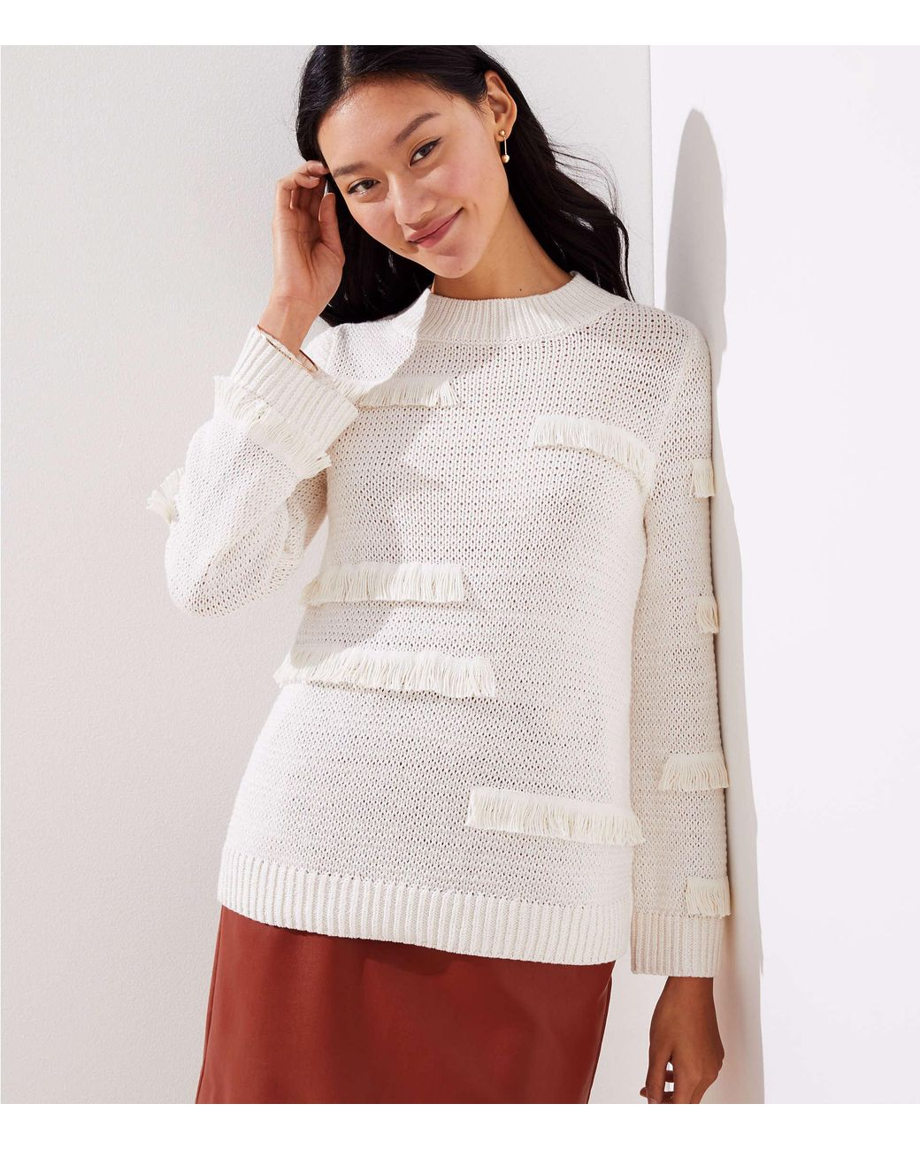 f36244d954fb7b LOFT Abstract Fringe Sweater in White - Lyst