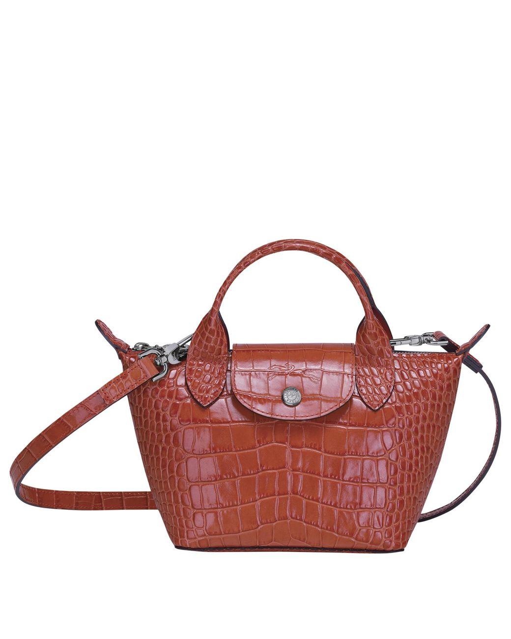 Sac porté main XS Le Pliage Cuir Longchamp en coloris Rouge - Lyst