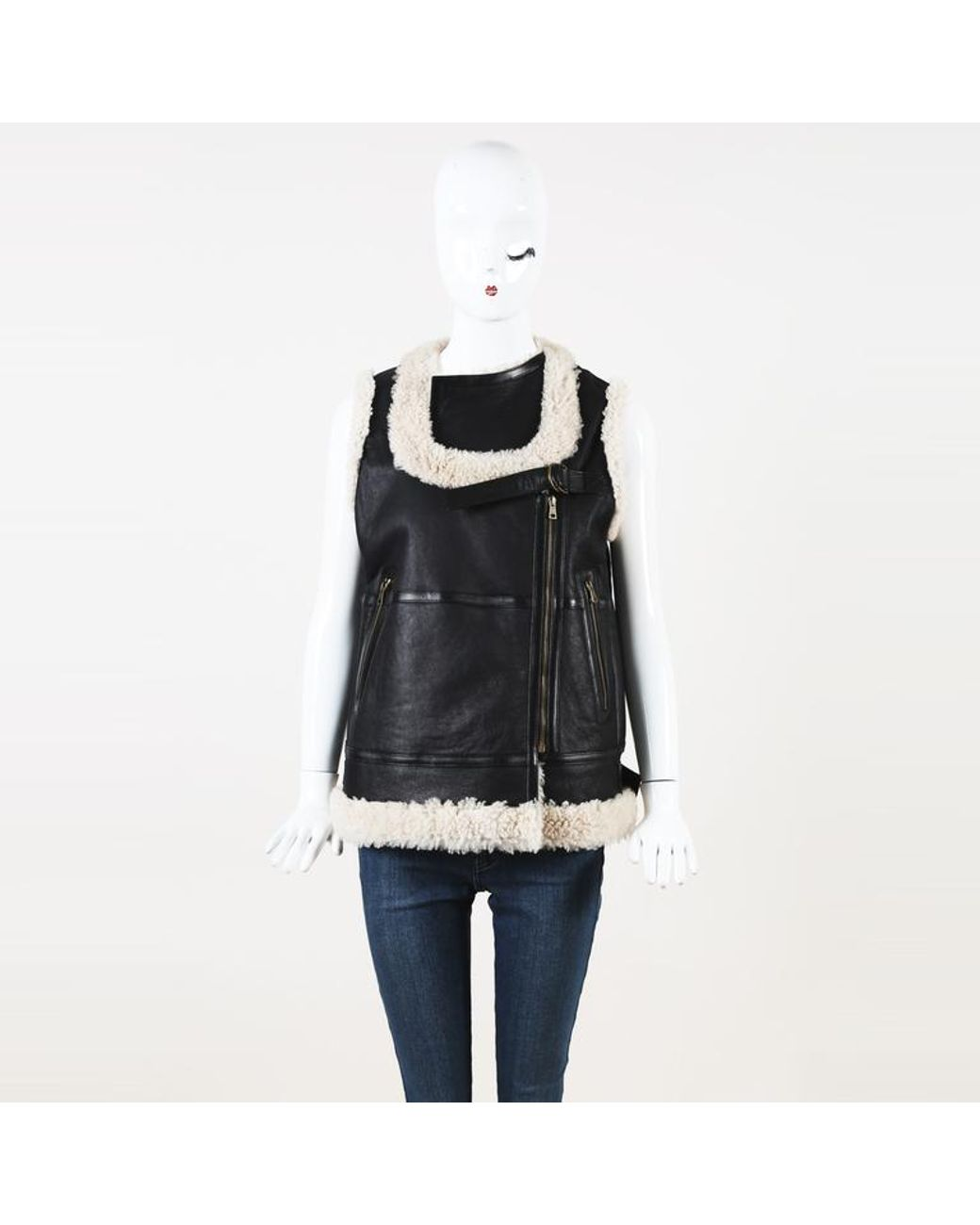 d590dd7d5e Chloé Leather Shearling Vest in Brown - Lyst