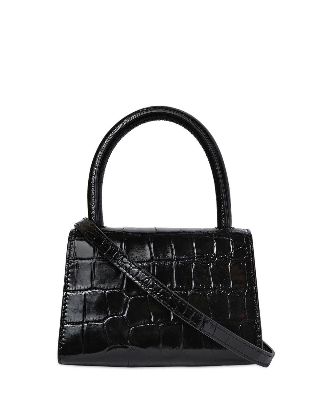 795a6316 BY FAR Mini Croc Embossed Leather Bag in Black - Lyst