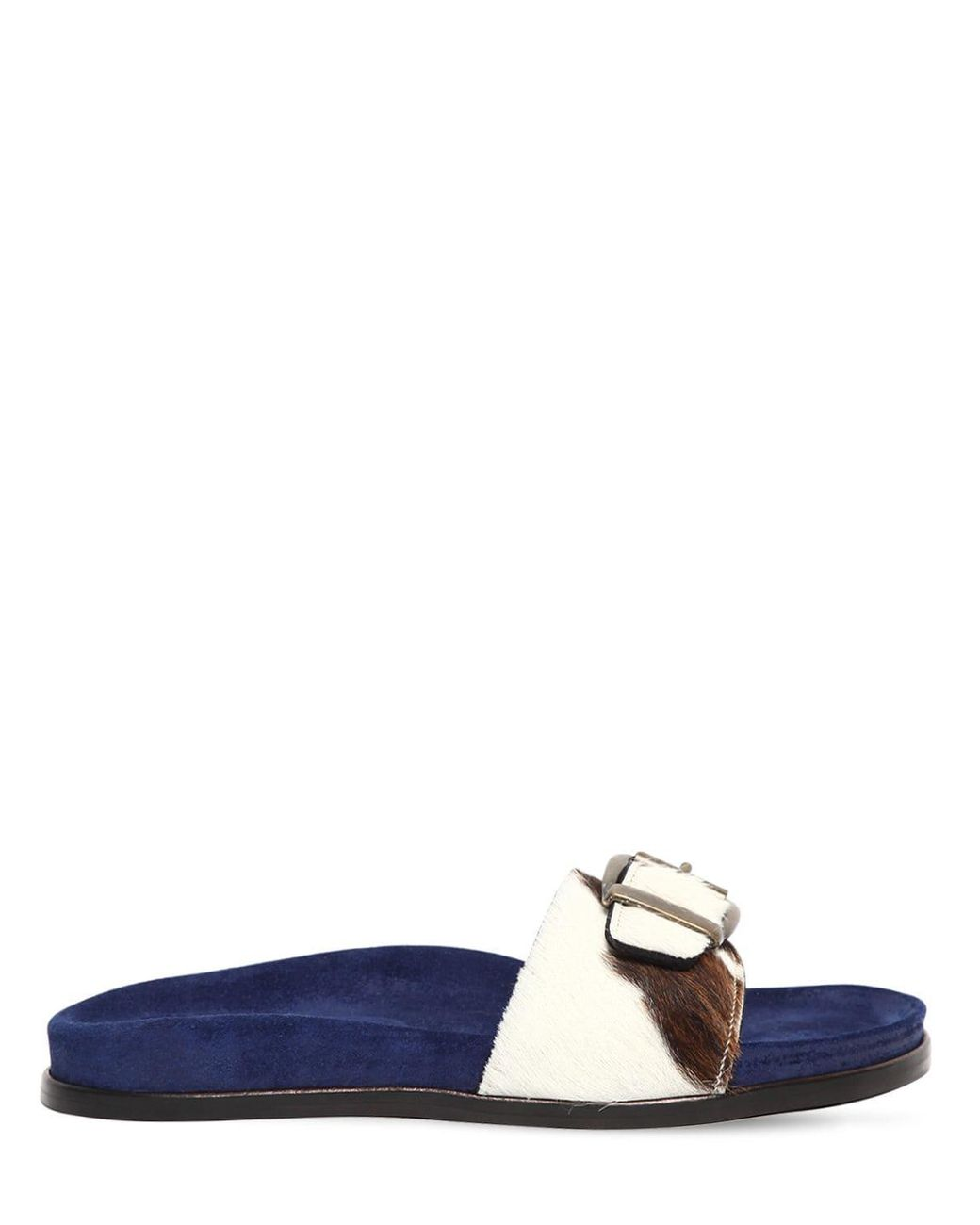 AVEC MODERATION Womens Bora Bora Leather Pony Hair Slide Sandals