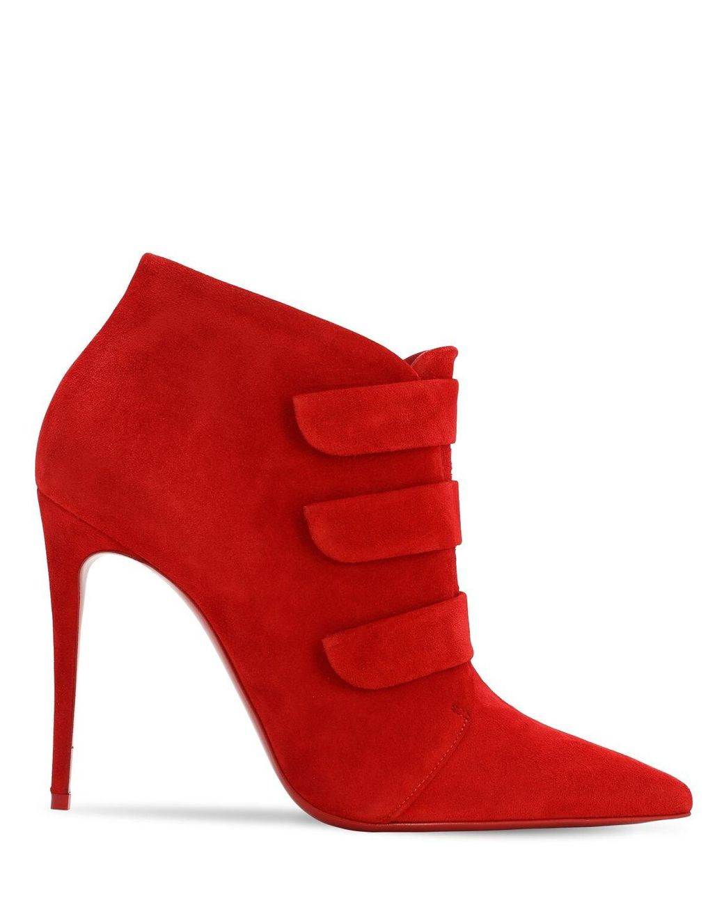 reputable site f5d19 702e5 Women's Red 100mm Triniboot Suede Boots W/ Straps