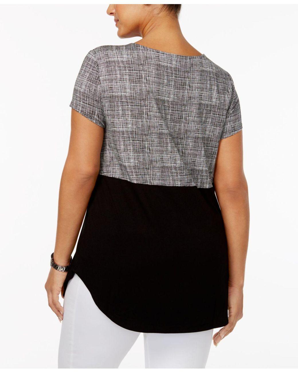 Karen Scott Women Top 2x Blue Striped Strawberry Embellished Crewneck Plus Size