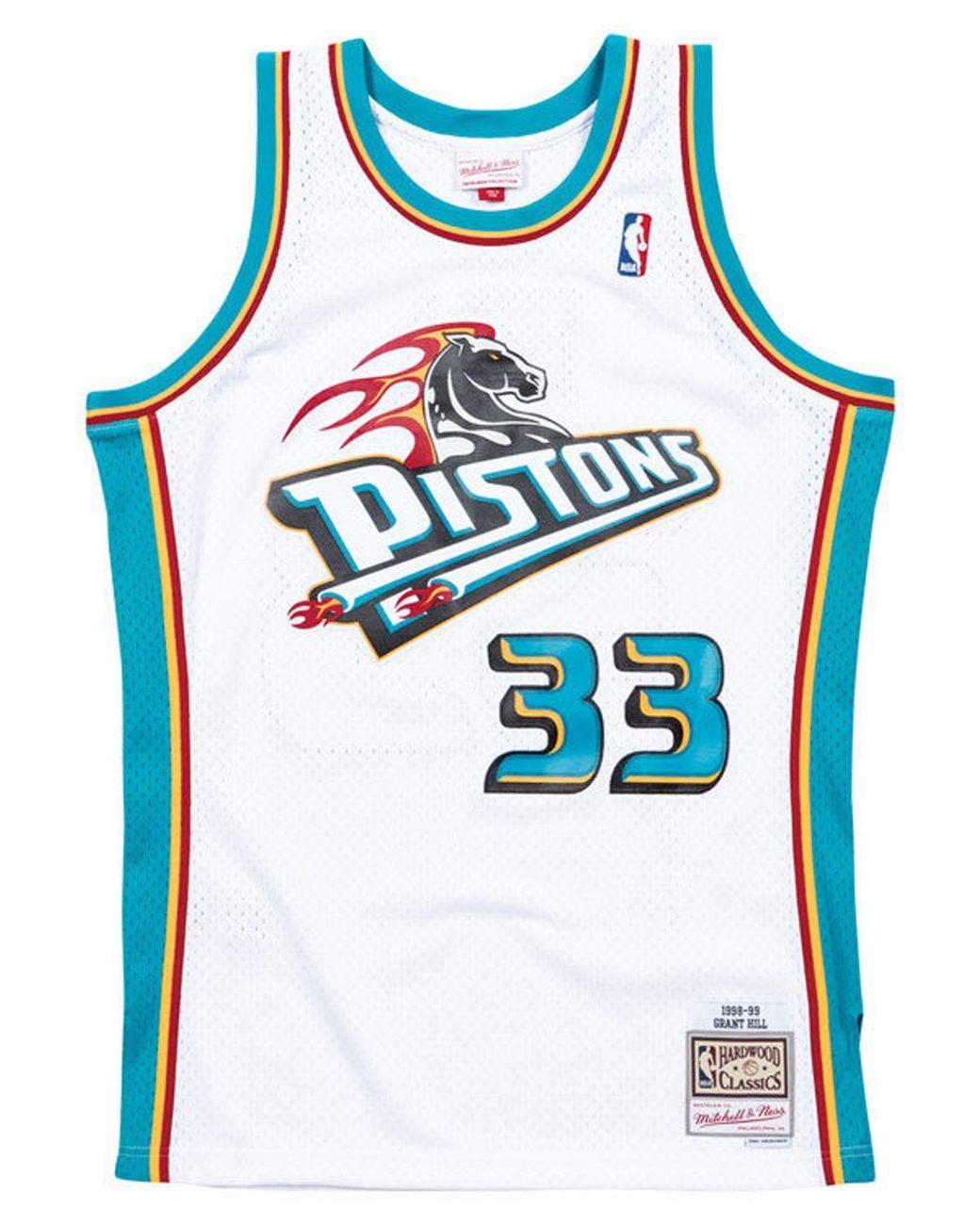 timeless design 20947 f76b0 Men's White Grant Hill Detroit Pistons Hardwood Classic Swingman Jersey