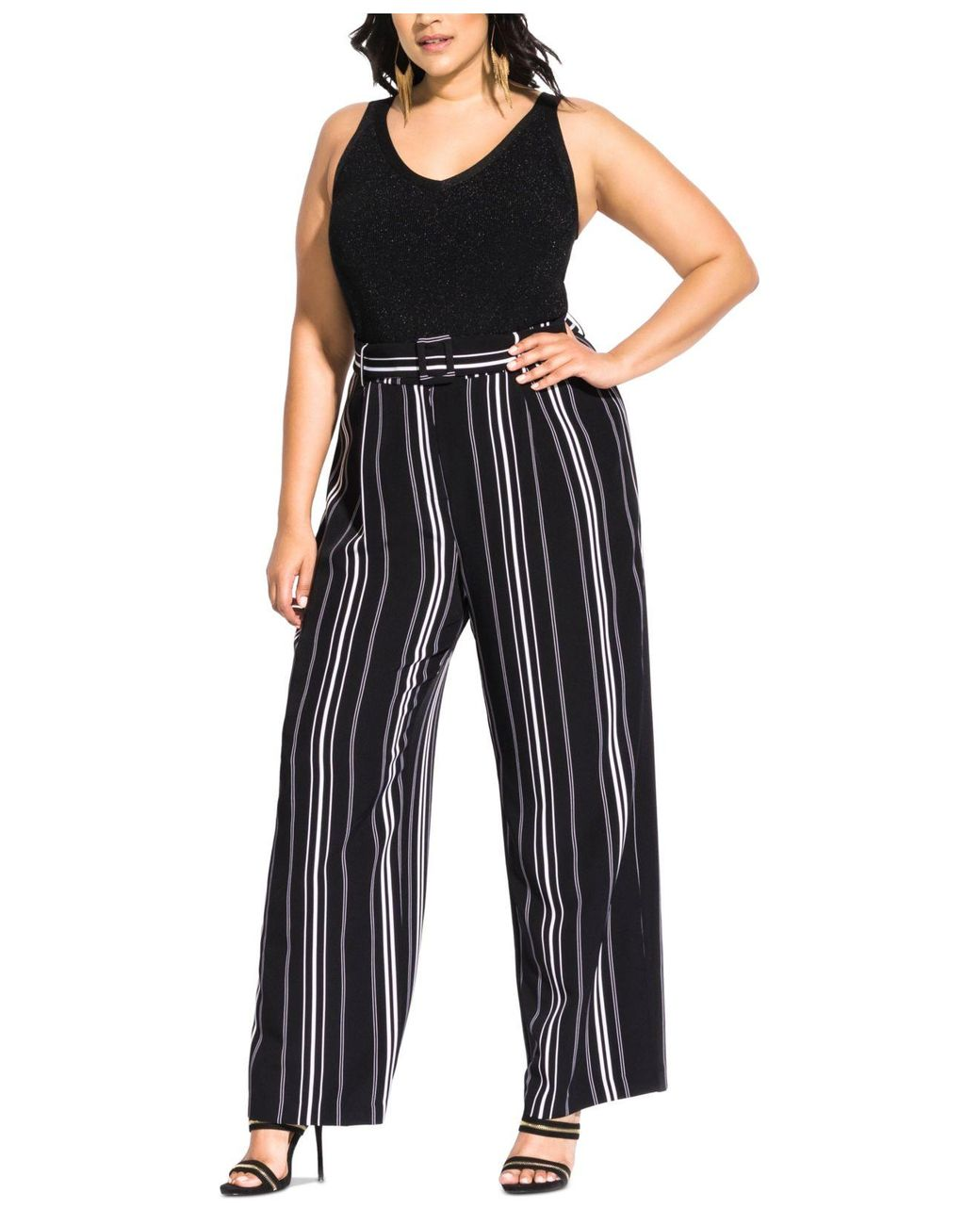 lowest price hottest sale pre order Women's Black Trendy Plus Size Belted Palazzo Pants