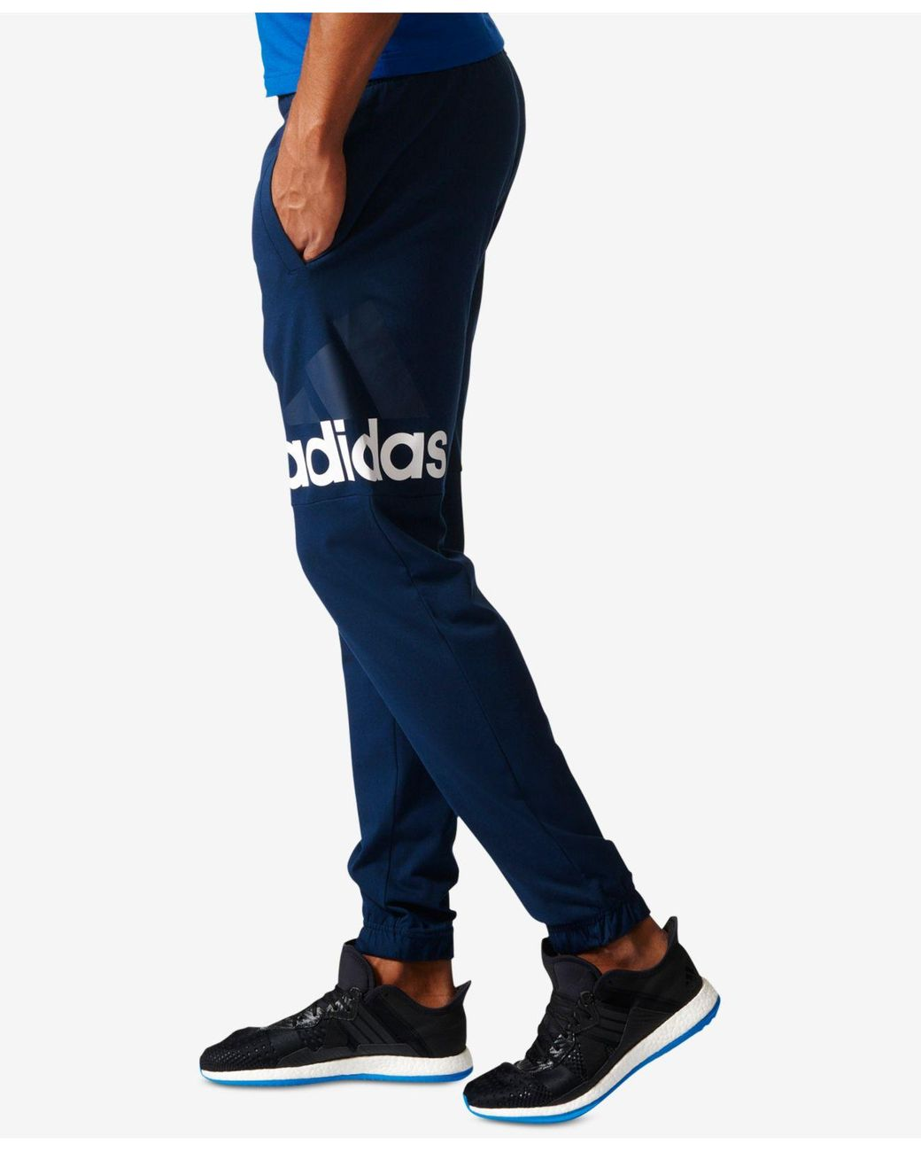 adidas Cotton Essentials Climalite Logo Pants in Navy (Blue) for ...