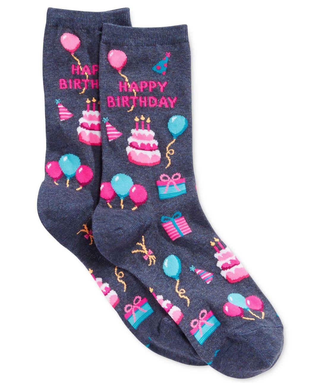 Hot Sox Teacup Pig Crew Socks Purple Novelty Piggy Sock shoe size 4-10.5 NEW