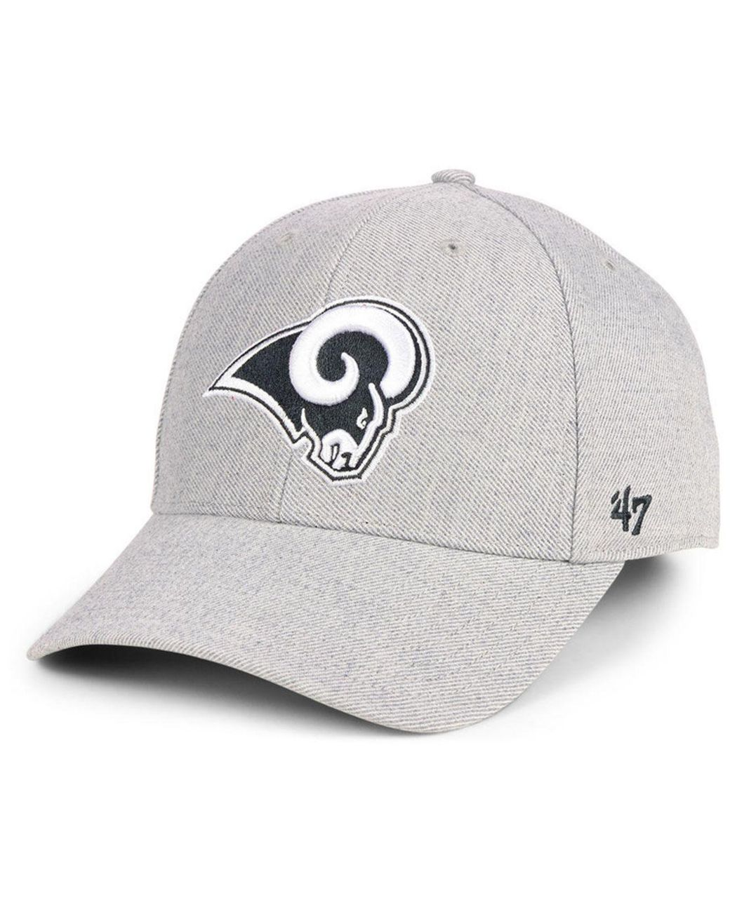 676443d9d05d6 47 Brand. Men s Gray Los Angeles Rams Heathered Black White Mvp Adjustable  Cap