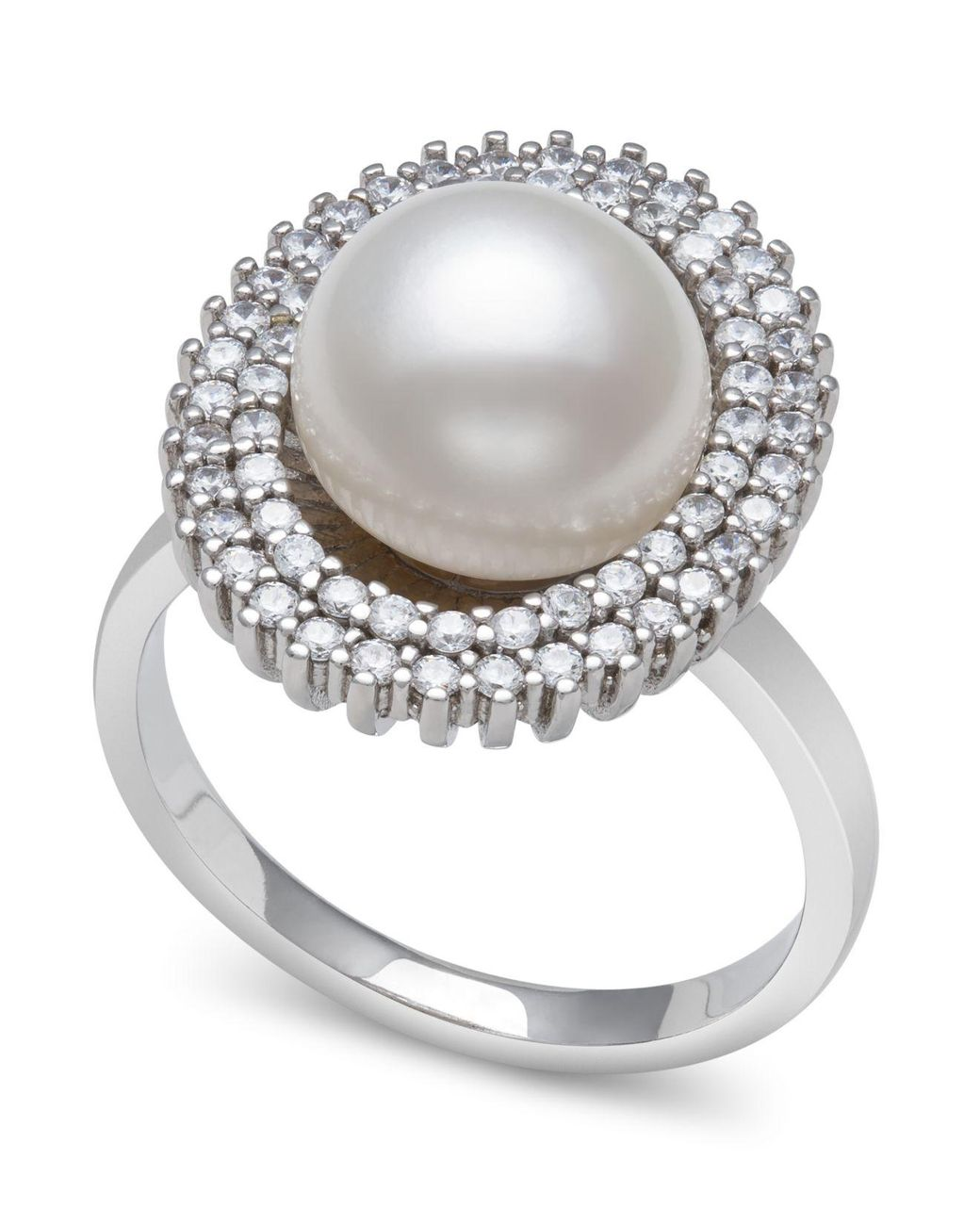 Sterling Silver CZ Pave Two Row Band 7mm White Freshwater Cultured Pearl Ring