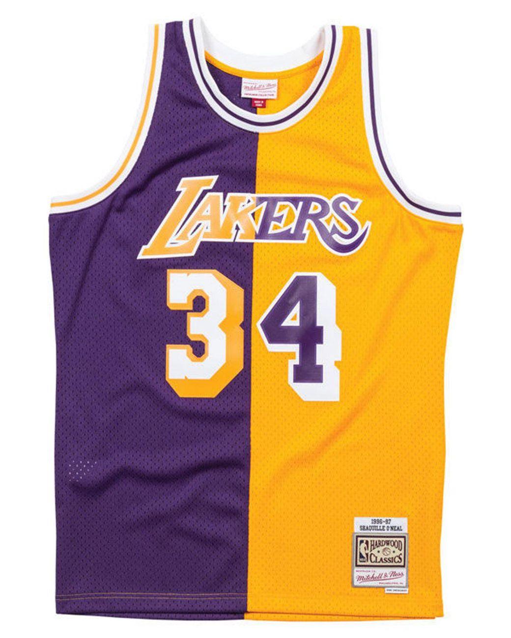 on sale f05a5 87181 Men's Purple Shaquille O'neal Los Angeles Lakers Split Swingman Jersey