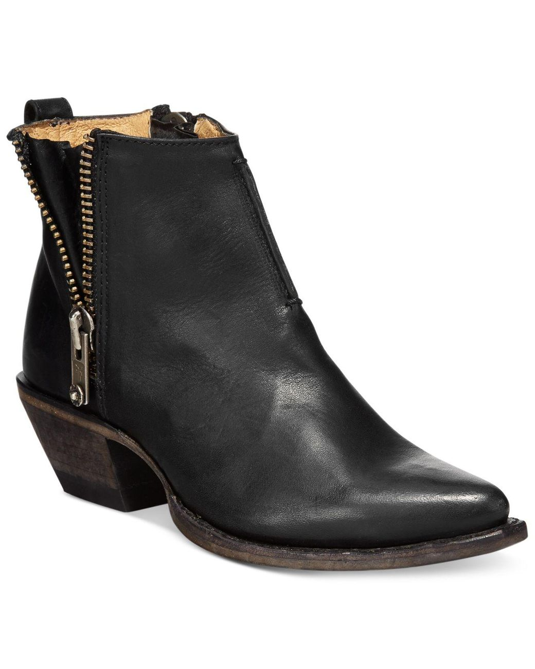 $298 NEW VIA SPIGA EARTHA BROWN LEATHER HEELS ANKLE BOOTS SIDE ZIPPER BOOTIE