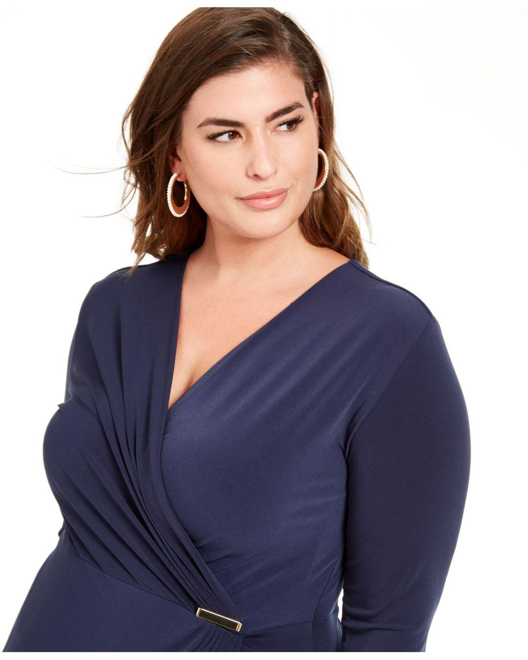 Charter Club Synthetic Plus Size Surplice Crossover Dress ...