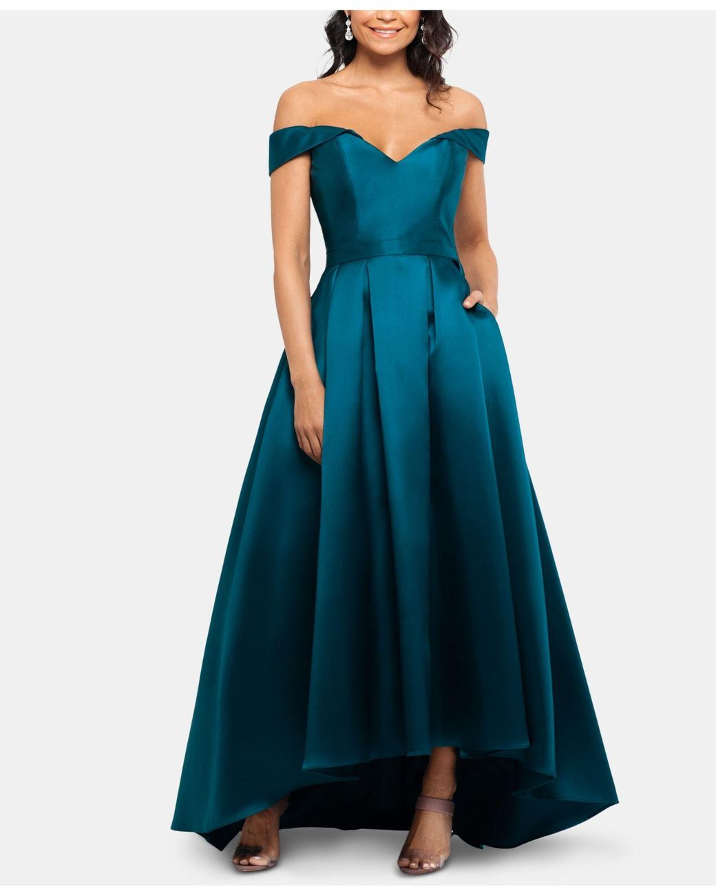 243ce7e6de7 Xscape Off-the-shoulder Sweetheart Gown in Blue - Lyst
