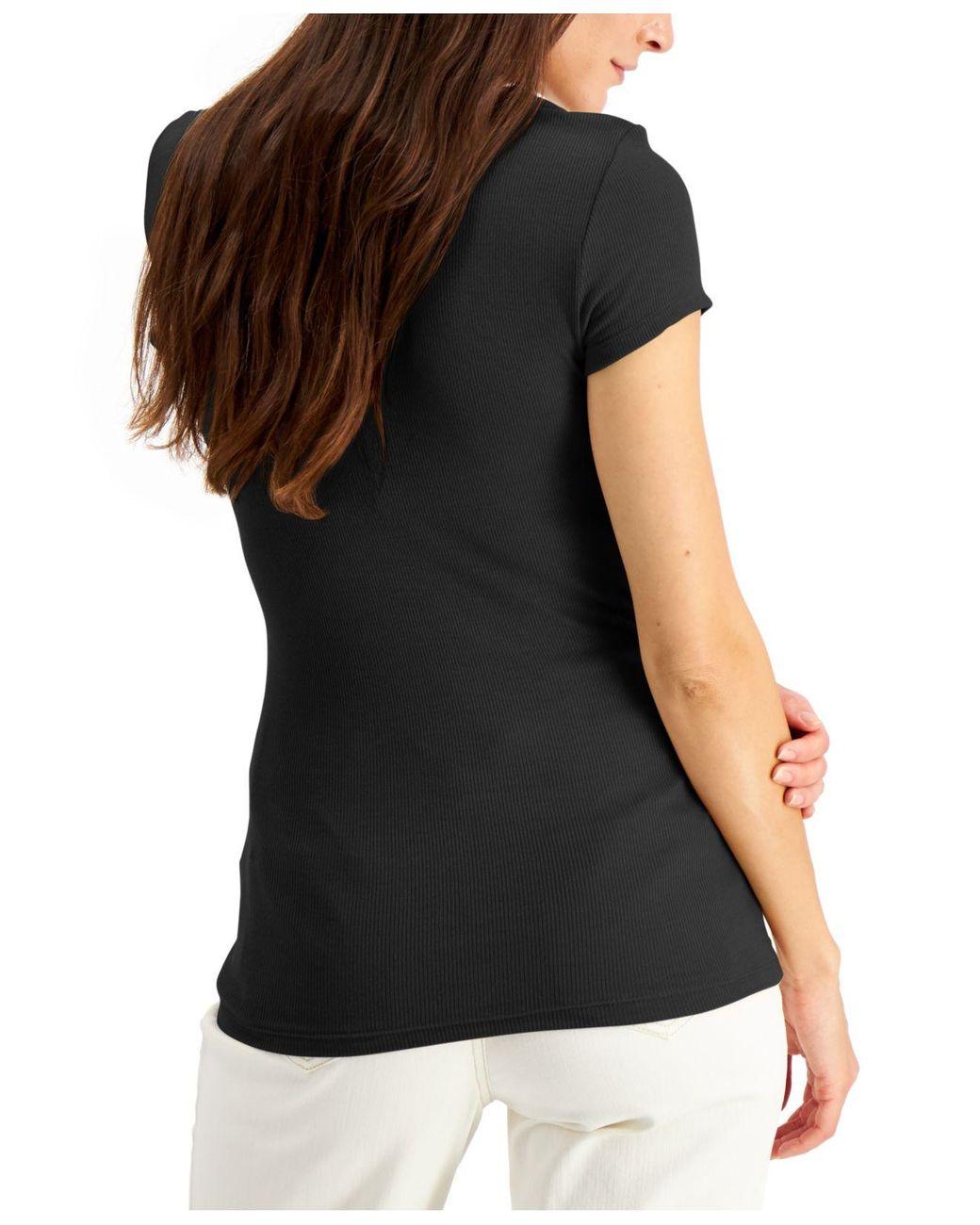 I-N-C Womens Ribbed Basic T-Shirt