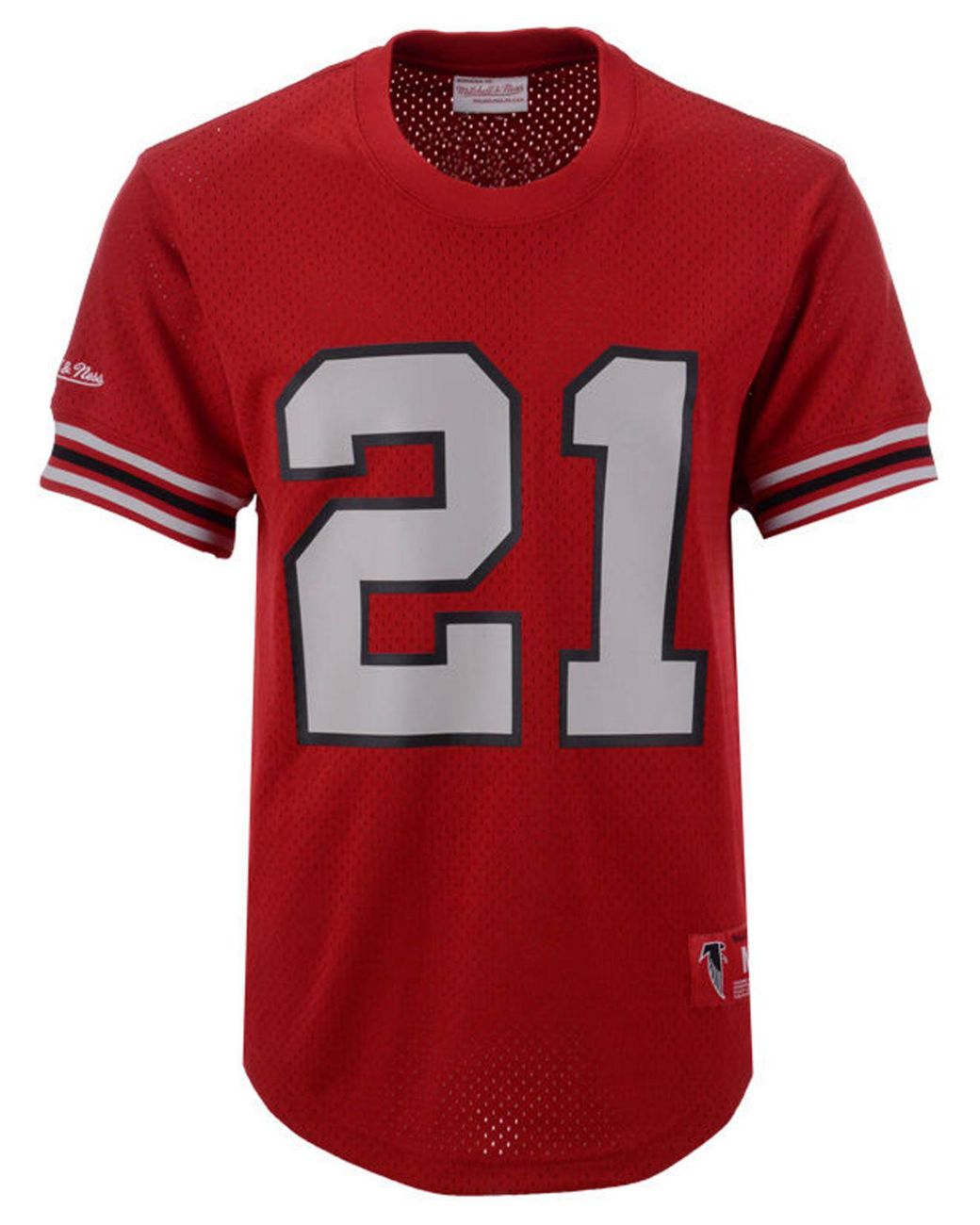newest 2591e 21916 Men's Red Deion Sanders Atlanta Falcons Mesh Name And Number Crewneck Jersey
