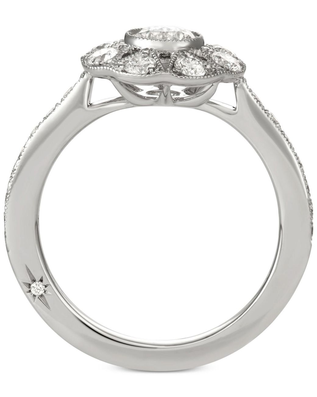 Marchesa Diamond Halo Engagement Ring 1 Ct T W In 14k White