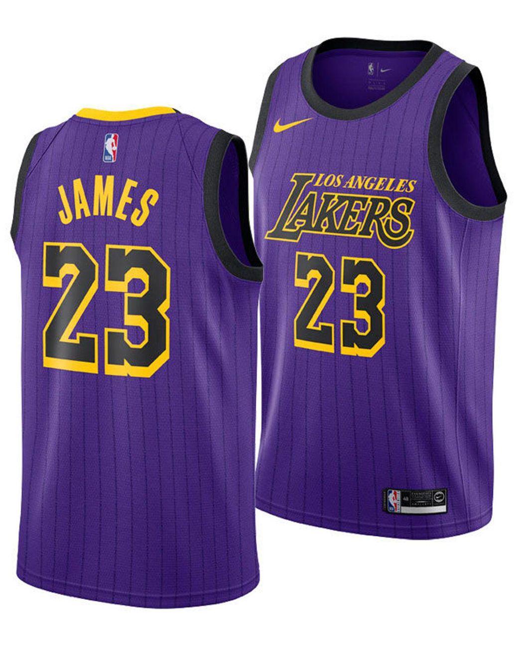 quality design 998fb 96ed6 Men's Purple Lebron James Los Angeles Lakers City Swingman Jersey 2018