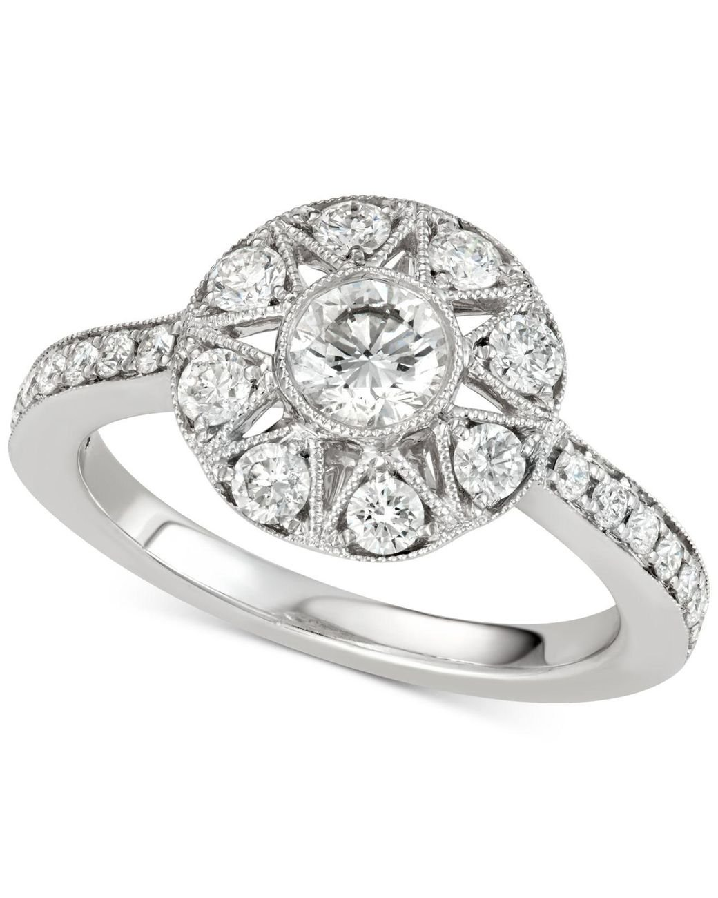 1 Ct Certified Genuine Diamond Solitaire 14k White Gold Ring