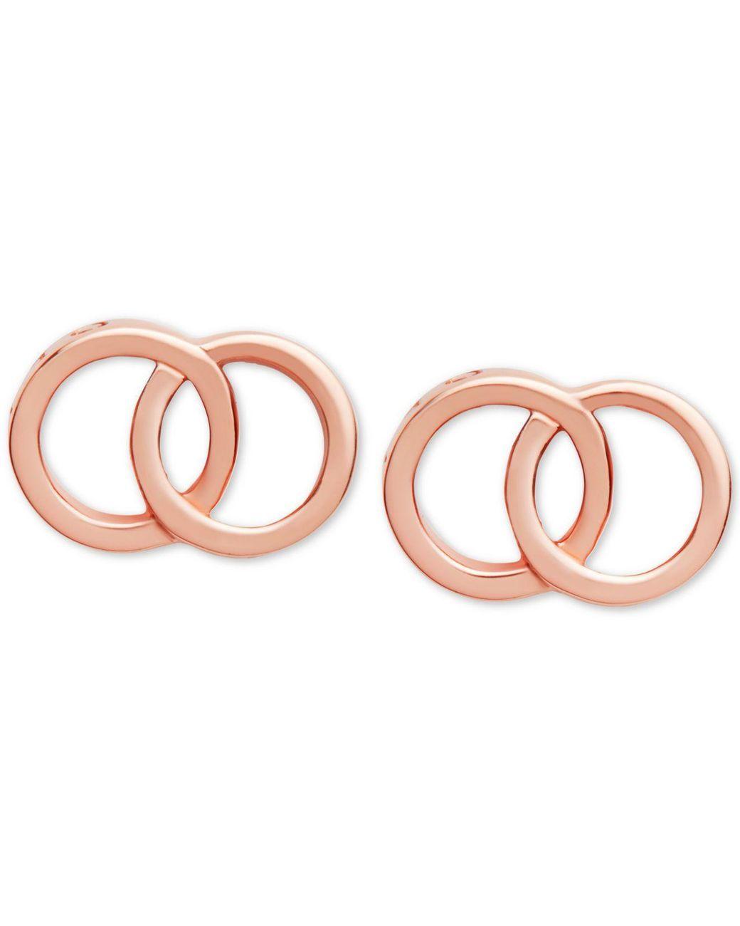 SISGEM 18k Rose Gold Threader Heart Earrings Real Gold Drop Dangle Earrings for Women