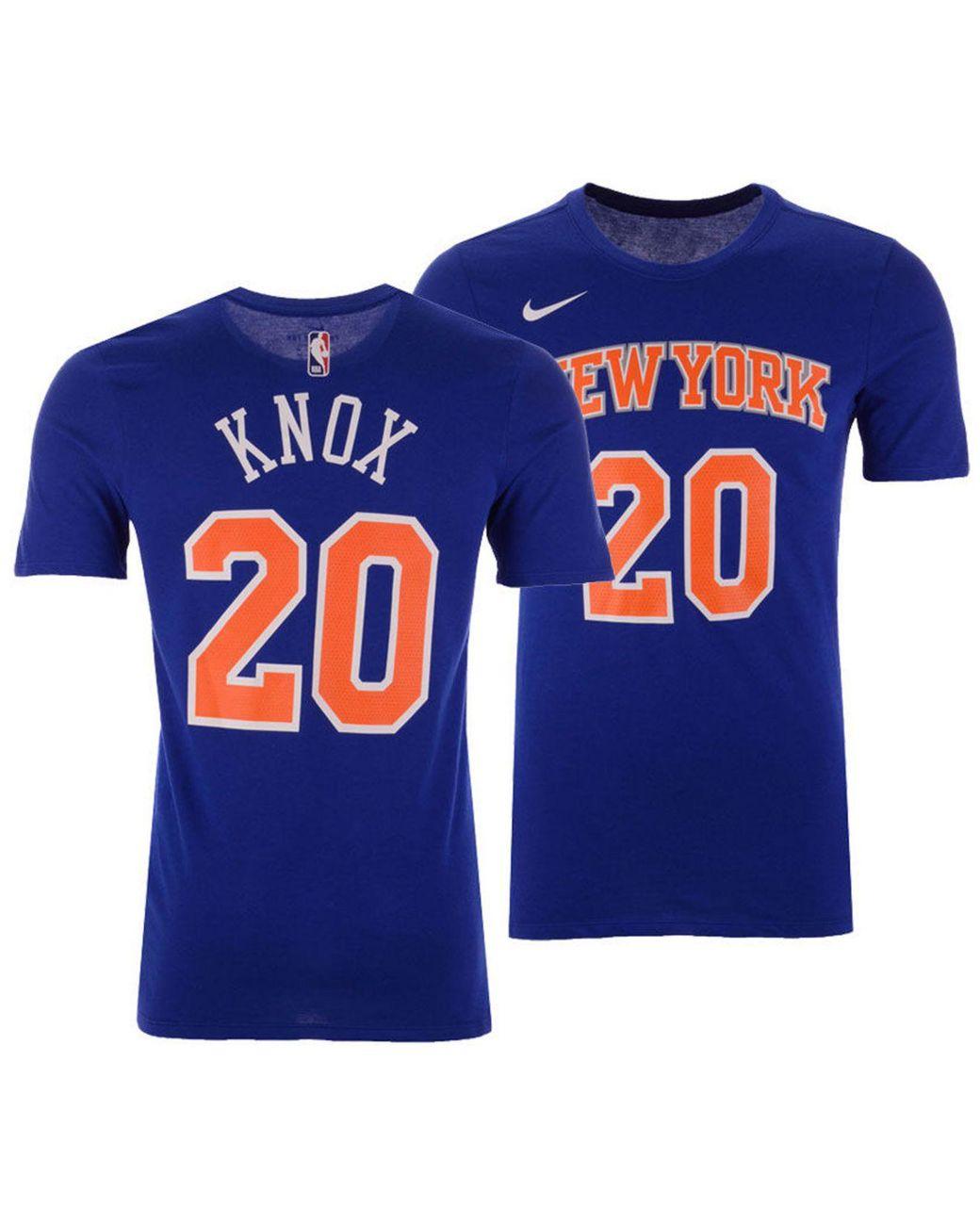 uk availability b31f7 5e5c3 Men's Blue Kevin Knox New York Knicks Icon Player T-shirt