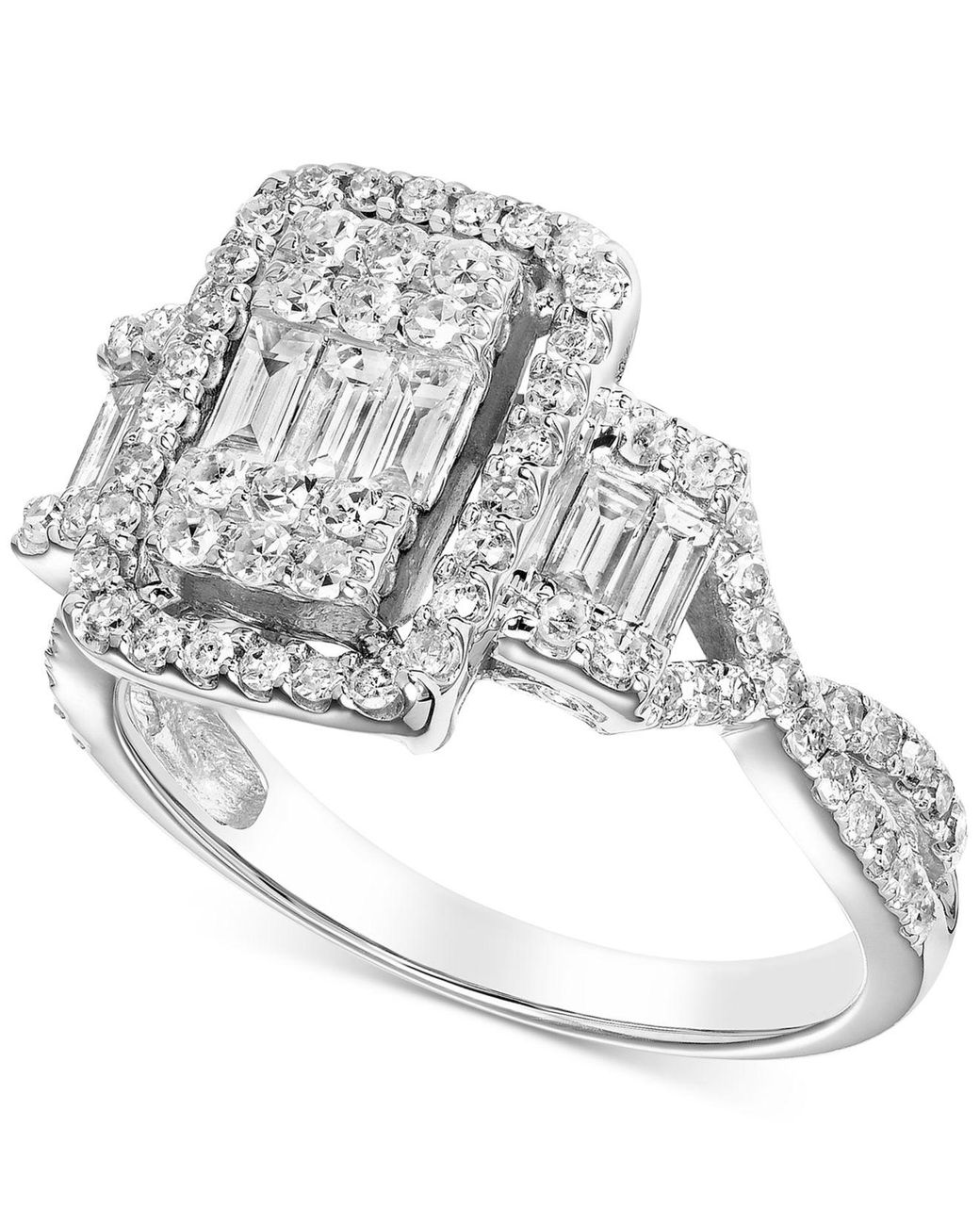 Macy S Diamond Baguette Cluster Engagement Ring 1 Ct T W In