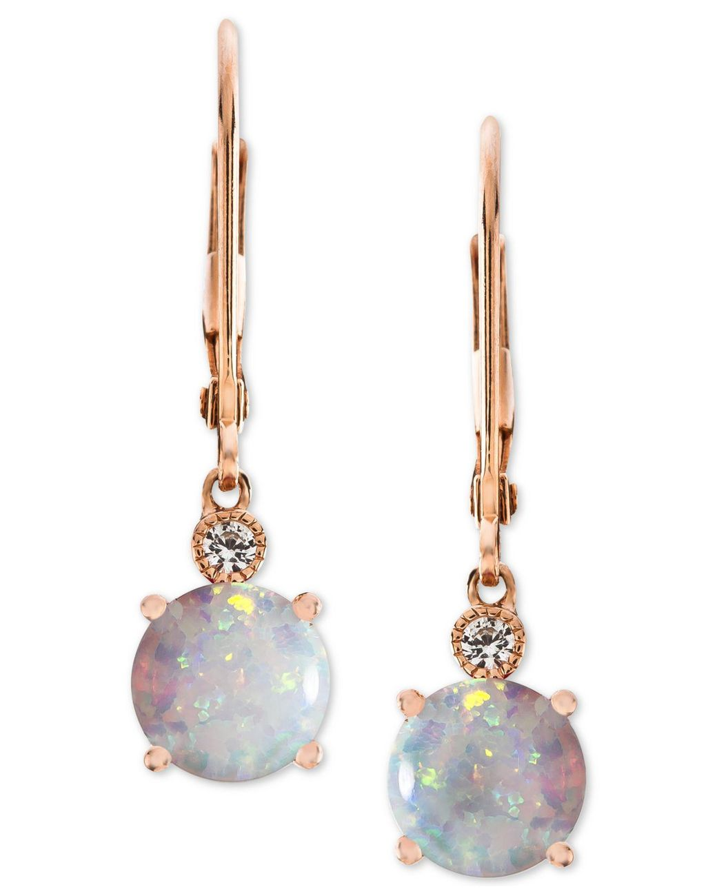 dfa7a6e13 Macy's Lab-created Opal (1-1/2 Ct. T.w.) & White Sapphire Accent Drop  Earrings In 14k Rose Gold-plated Sterling Silver - Lyst