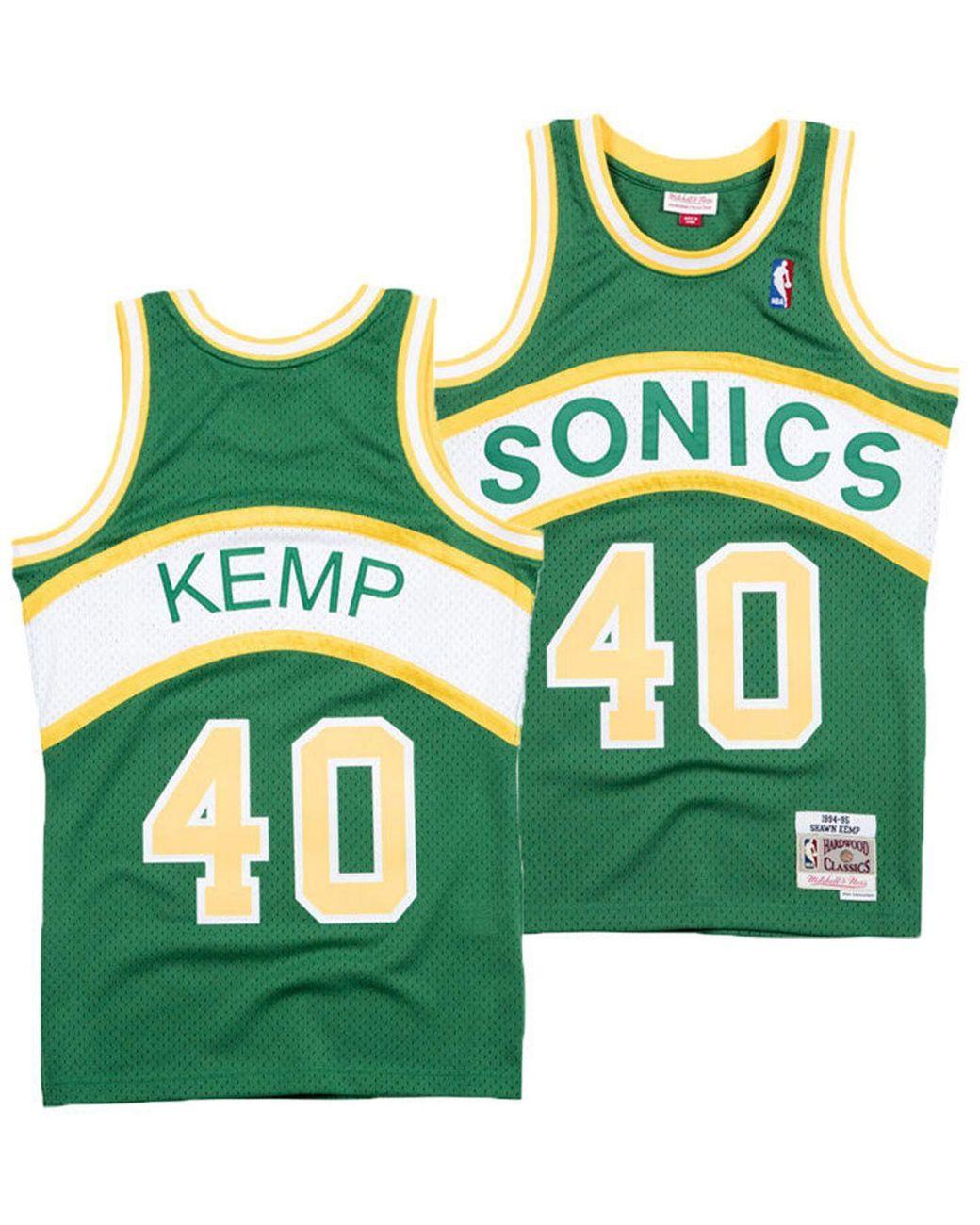 sale retailer 7a8de b8431 Men's Green Shawn Kemp Seattle Supersonics Hardwood Classic Swingman Jersey