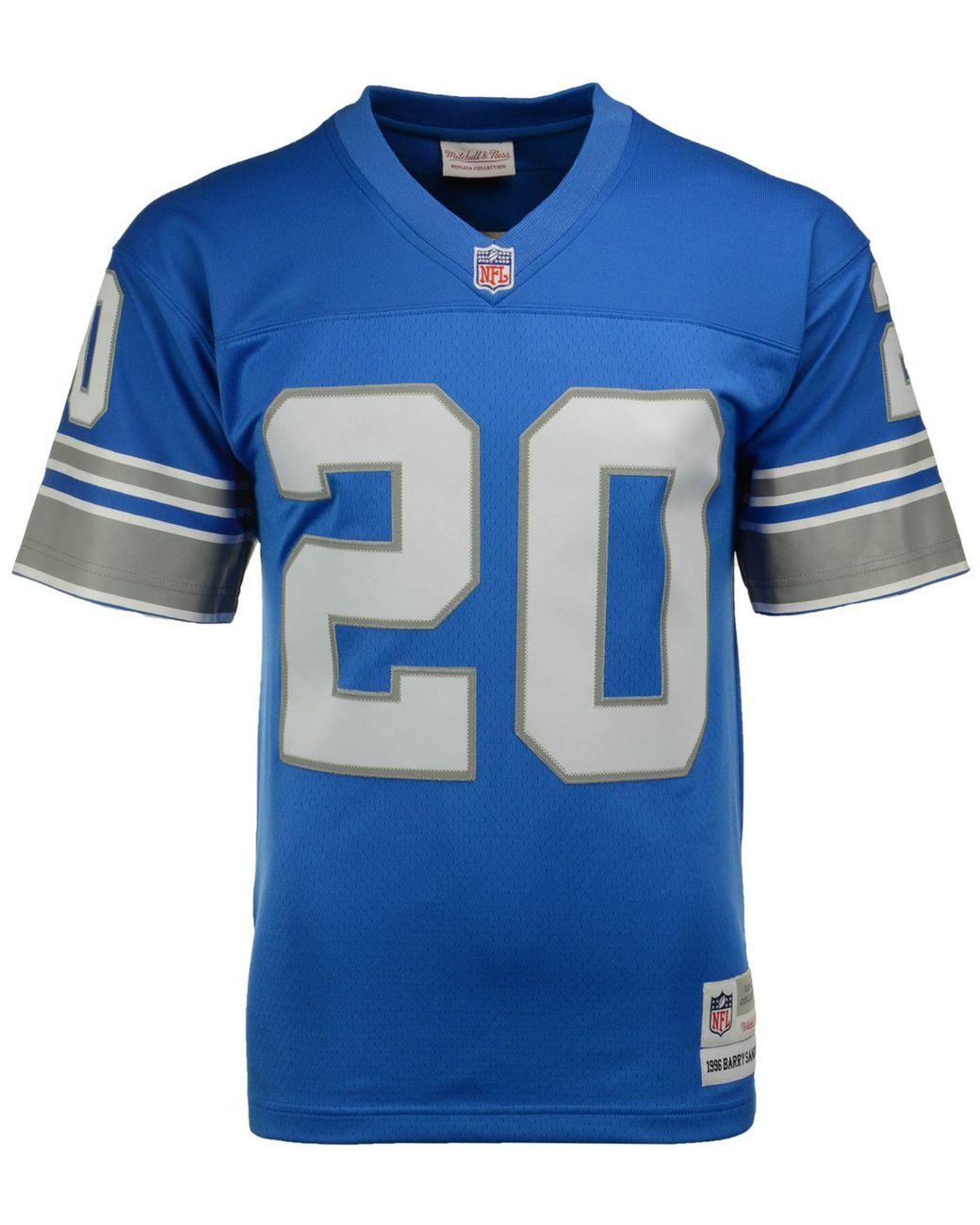 hot sale online 3291c e29e5 Blue Men's Barry Sanders Detroit Lions Replica Throwback Jersey